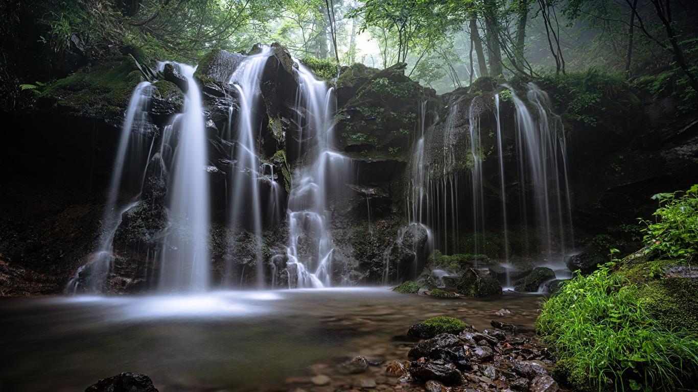 Photos Nature Waterfalls Moss Grass Stones 1366x768 stone