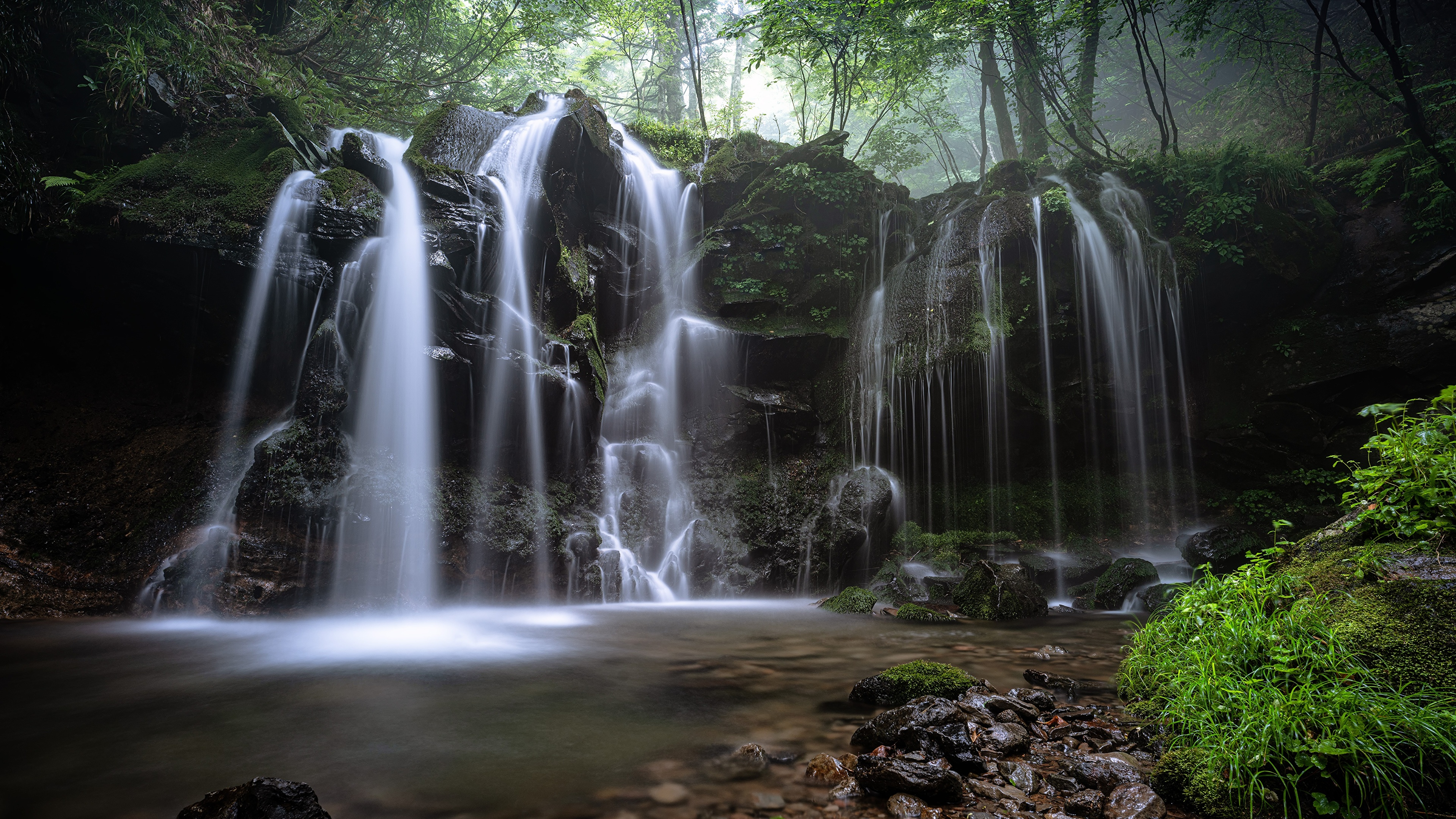 Photos Nature Waterfalls Moss Grass Stones 3840x2160 stone