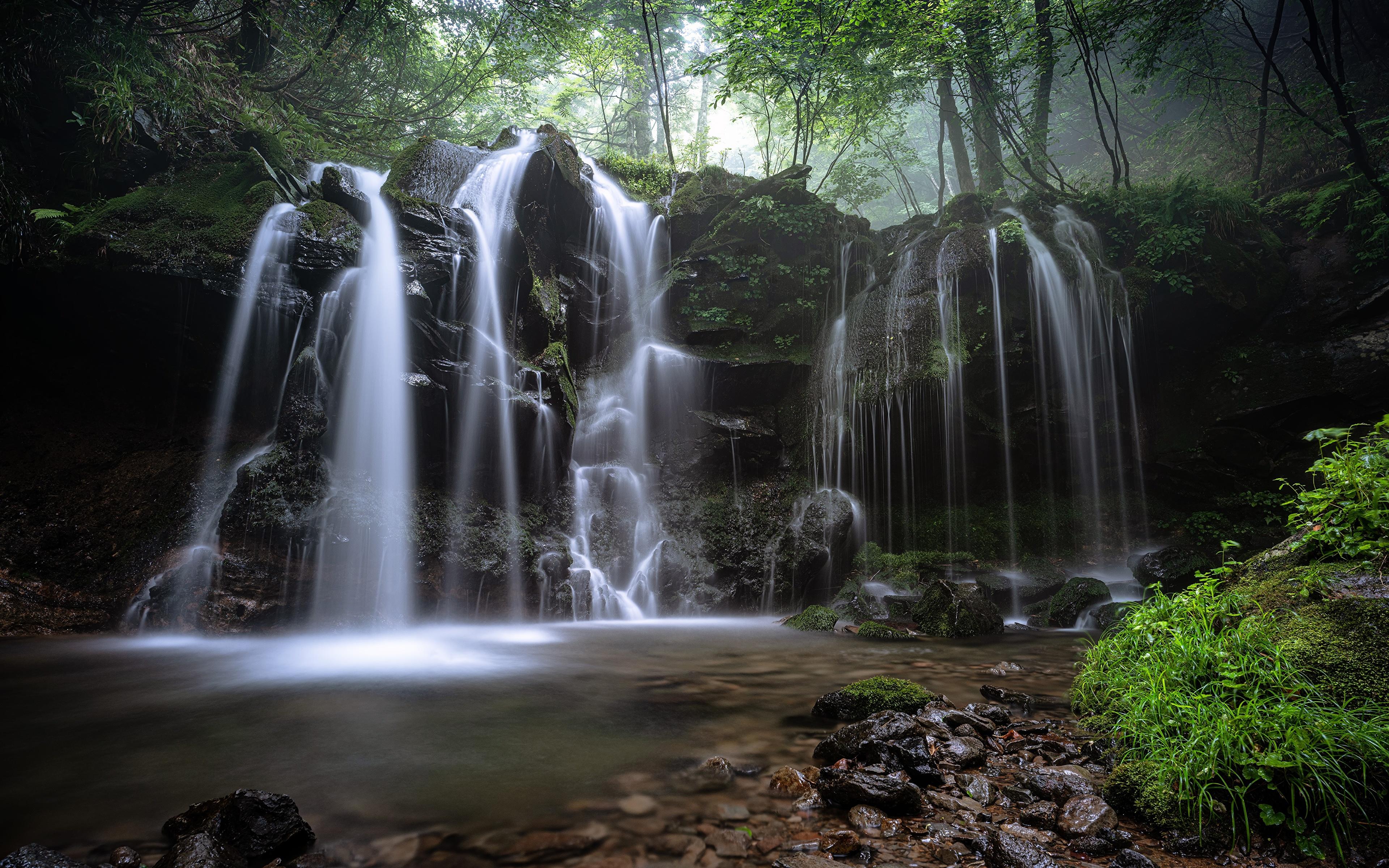 Photos Nature Waterfalls Moss Grass Stones 3840x2400 stone