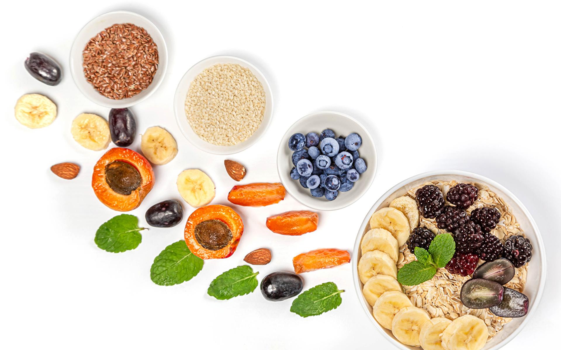 Desktop Wallpapers Oatmeal Apricot Plums Grain Blackberry Blueberries Food Fruit Muesli White background 1920x1200