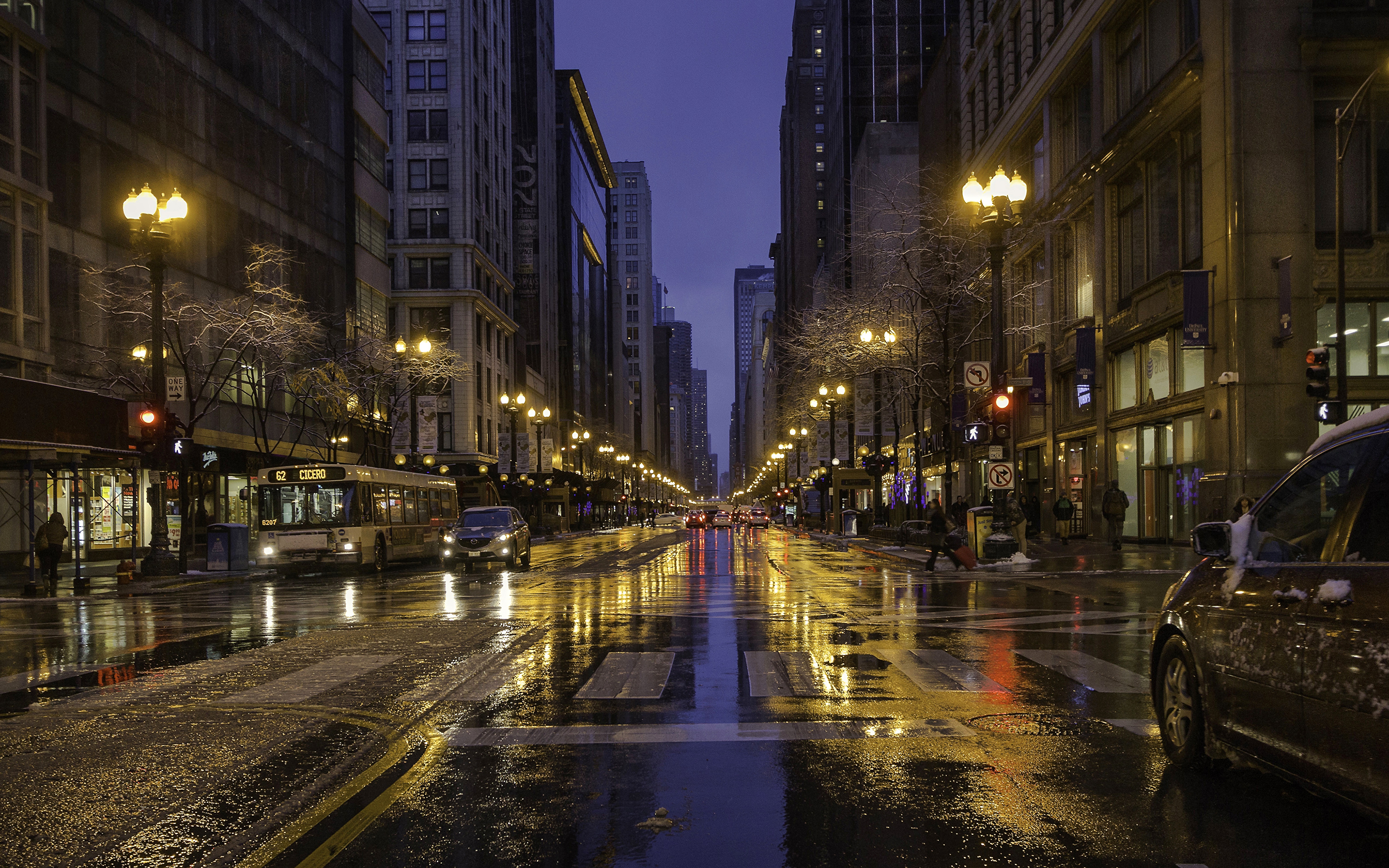 Picture Chicago City Usa Roads Street Night Street Lights 3840x2400