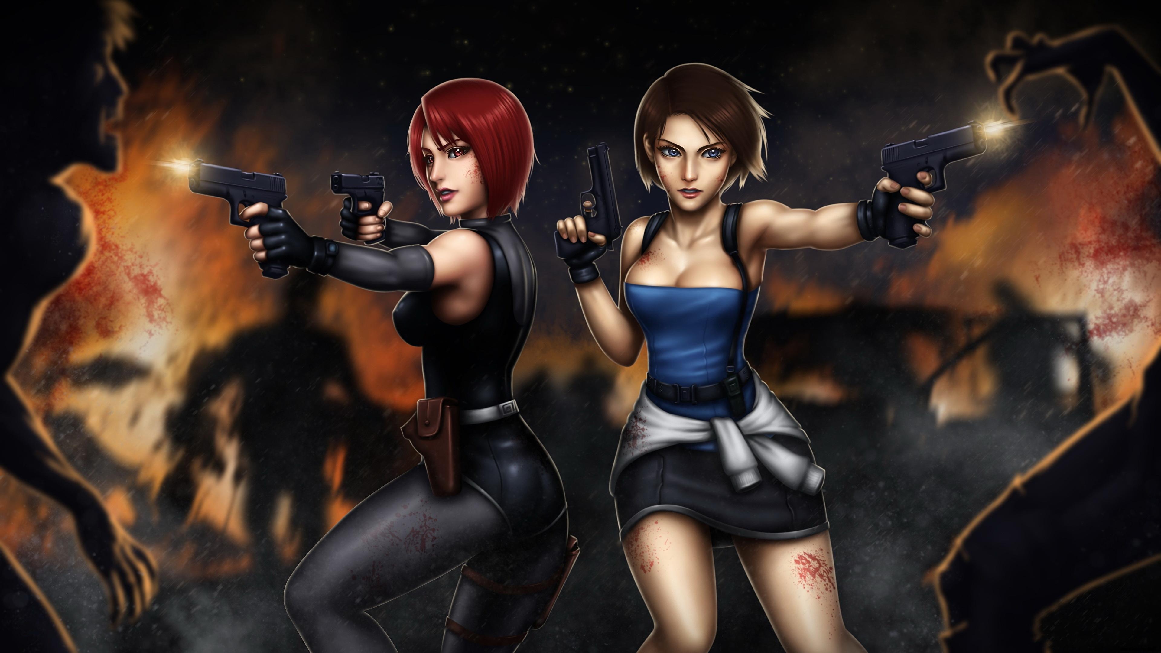 Wallpaper Resident Evil Zombie Firing Pistols Redhead Girl