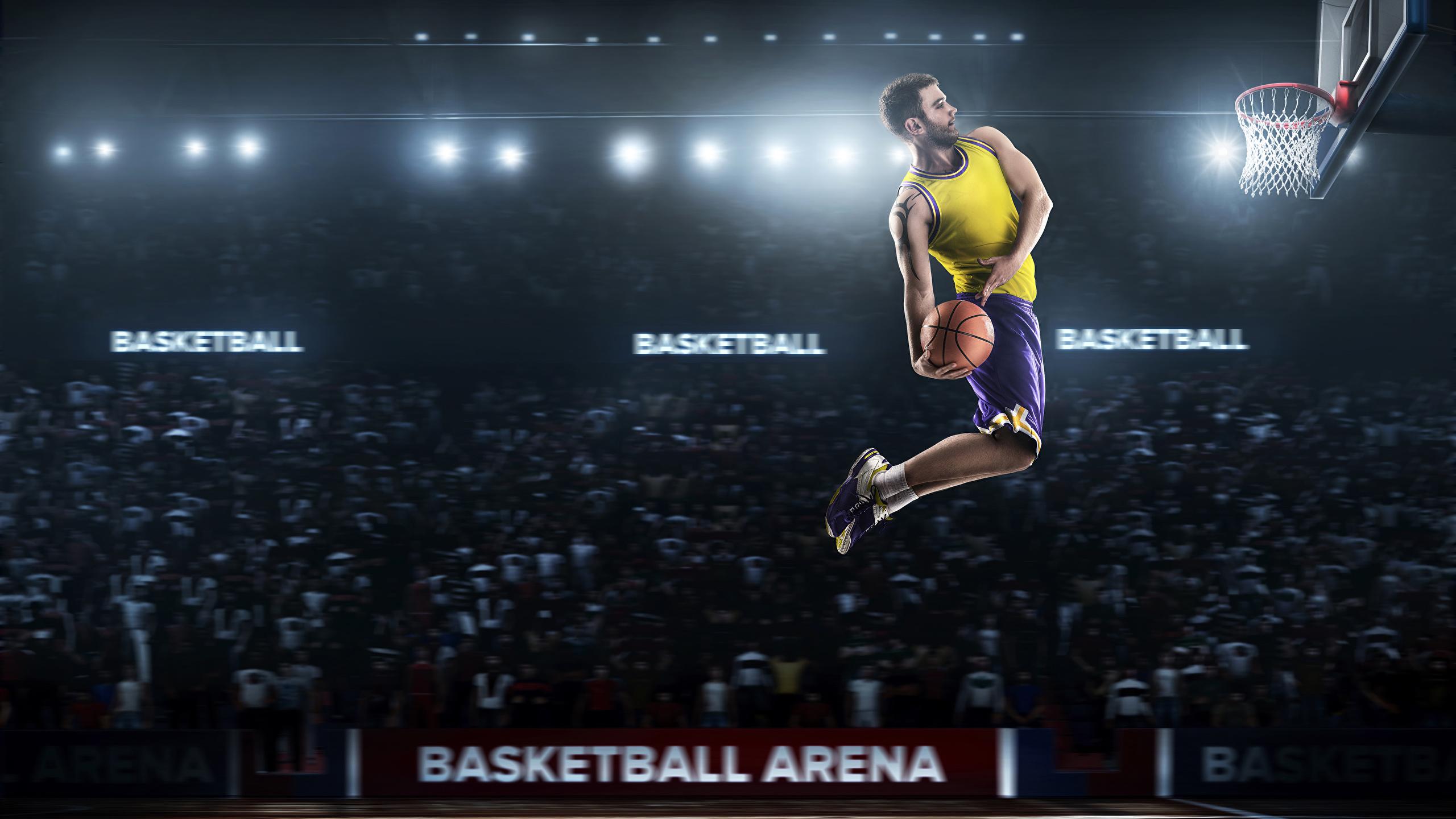 壁紙 2560x1440 バスケットボール 男性 スポーツボール 飛び