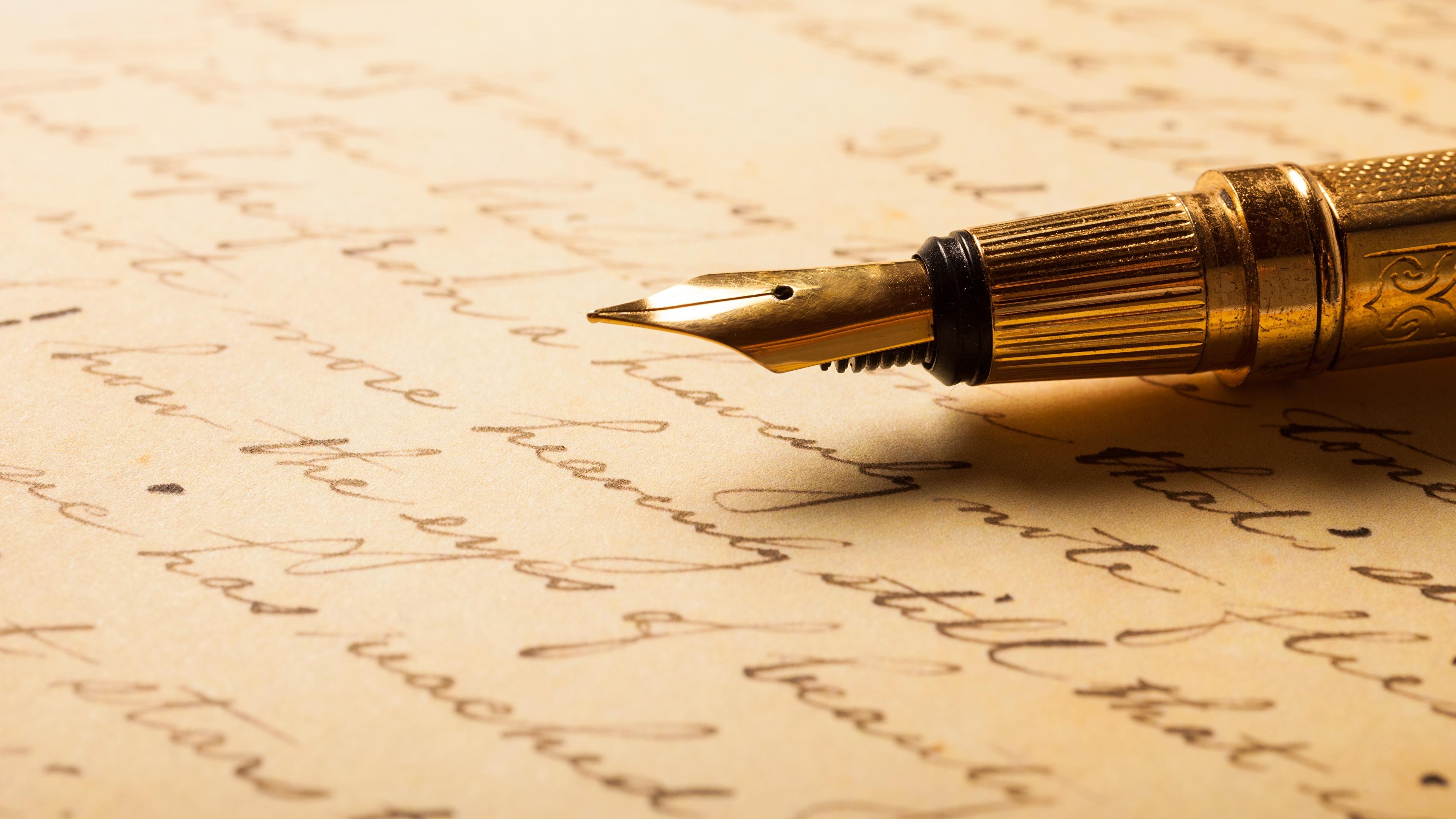 Pictures Ballpoint pen Letter message Closeup 3840x2160