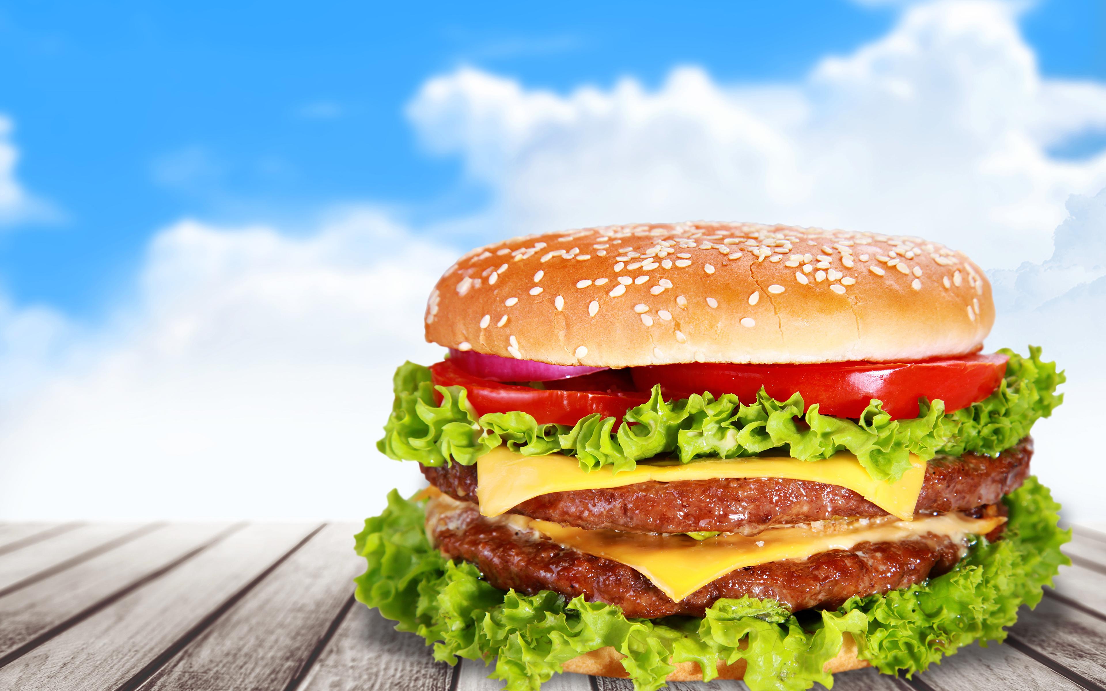 Fotos Hamburger Fast food Gemüse Lebensmittel Bretter 3840x2400 Burger