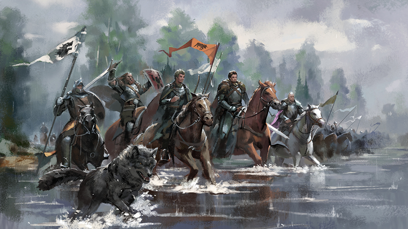 Wallpaper Game Of Thrones Armour Horses Knight Film Water 1366x768