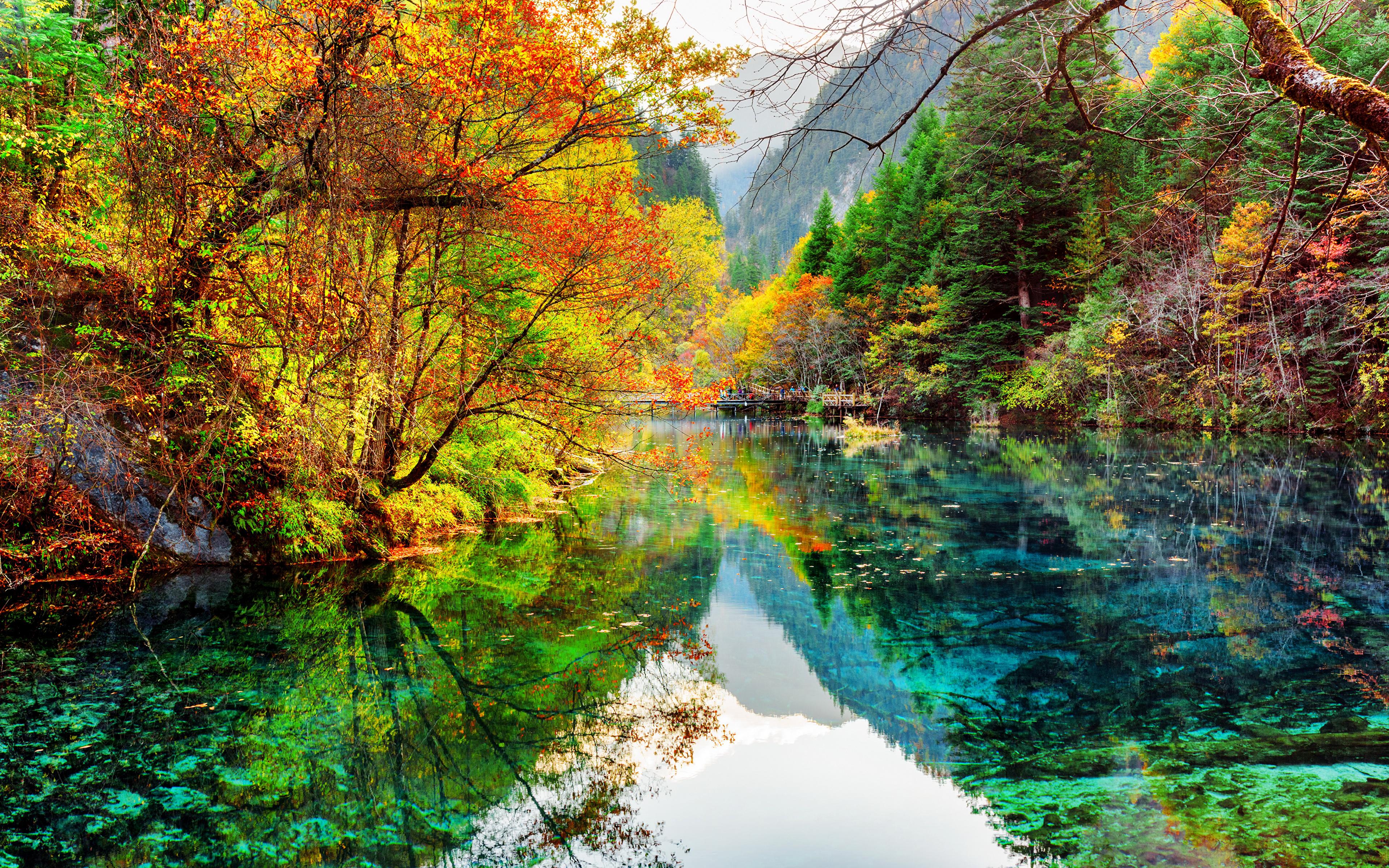 foto de Fonds d'ecran 3840x2400 Vallée de Jiuzhaigou Chine Parc Lac ...