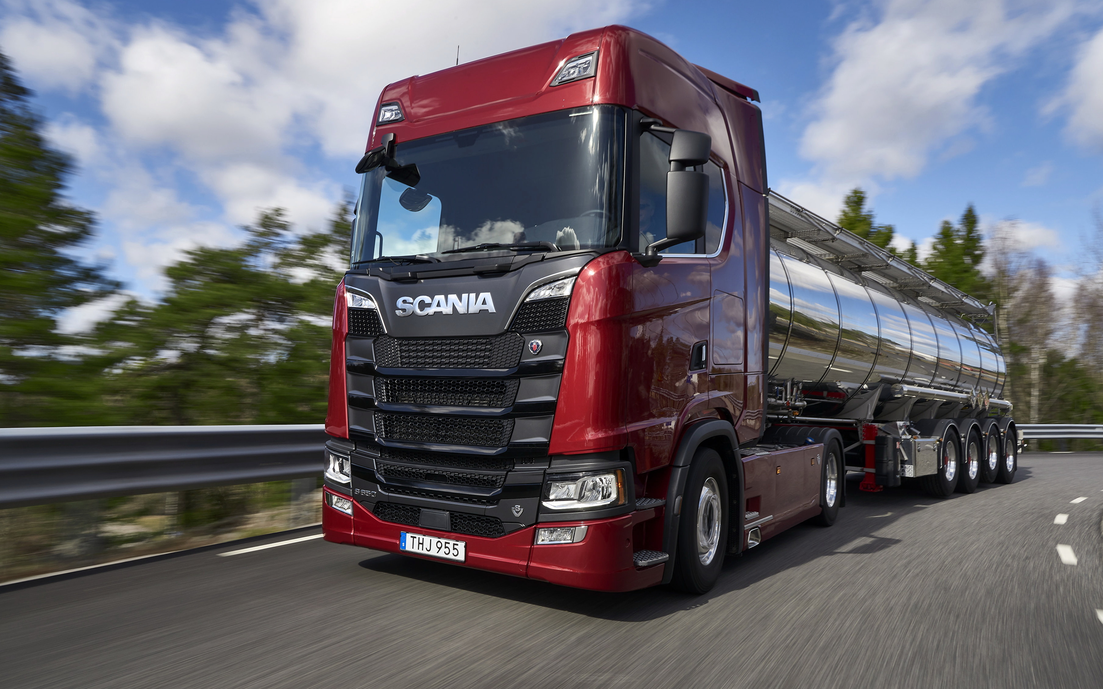 Desktop Wallpapers Trucks Scania S 650 Red moving automobile 3840x2400 lorry Motion riding driving at speed Cars auto