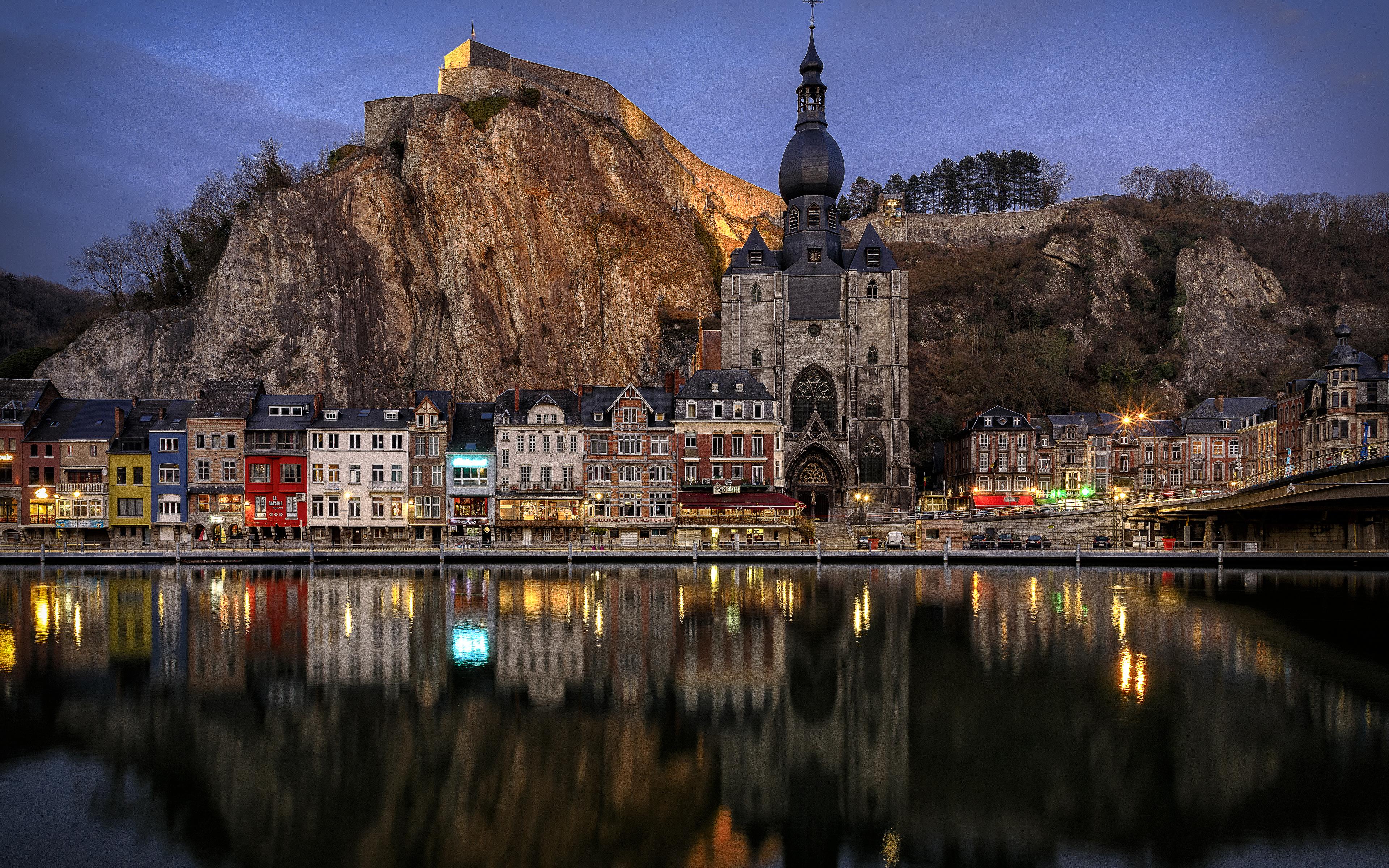 Photo Belgium Dinant Rock Rivers Evening Temples Cities 3840x2400