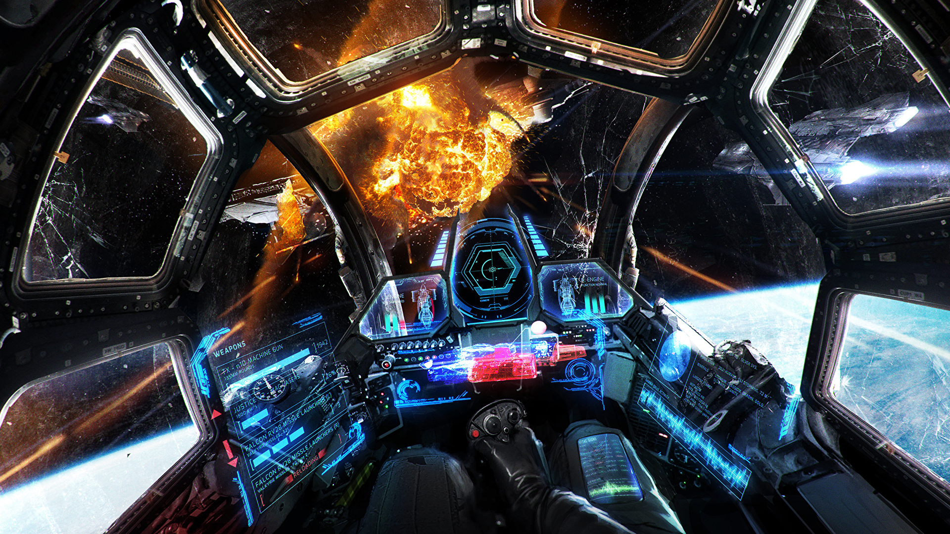 Photo Explosions Cockpit Space Fantasy Technics Fantasy 1920x1080