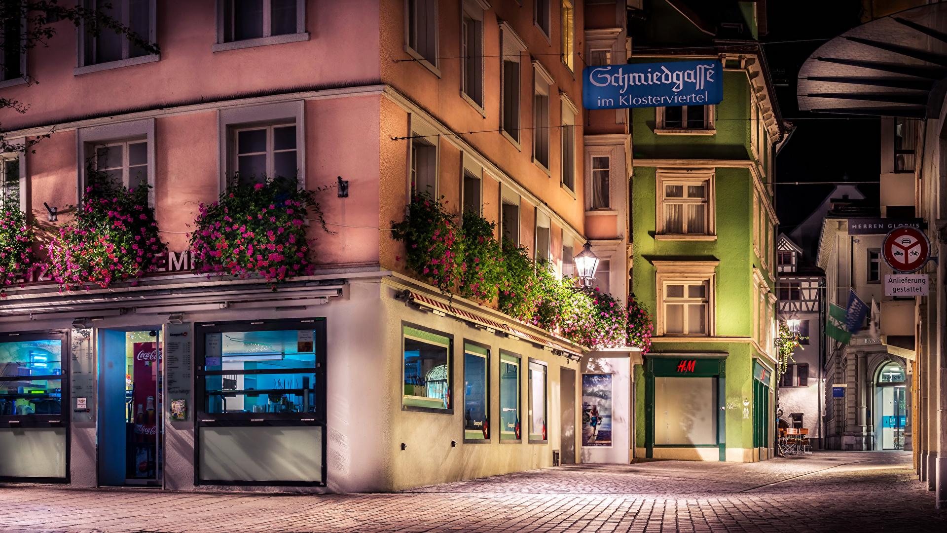 Wallpaper Switzerland St.Gallen HDRI Street night time Street lights Cities Building 1920x1080 HDR Night Houses