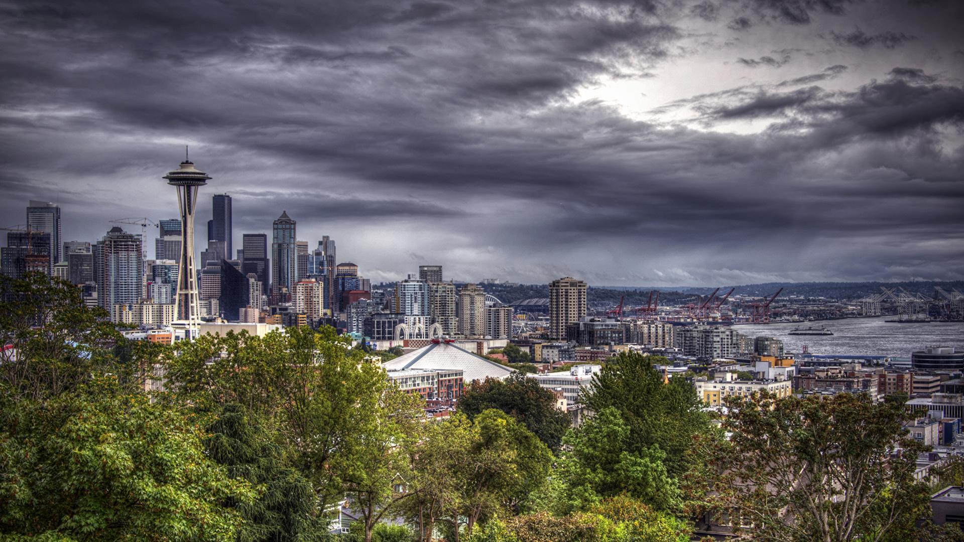 Photos Seattle Usa Hdri Sky Evening Cities Houses 1920x1080