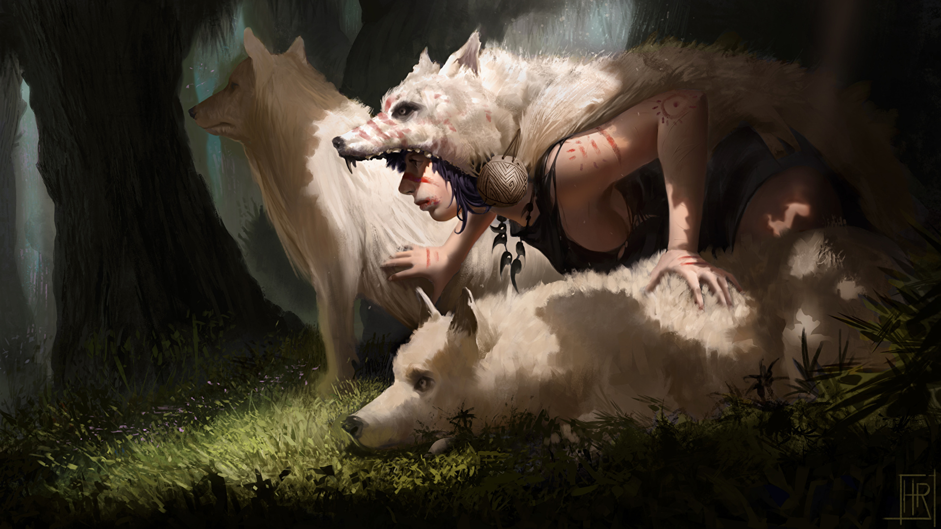 Photo Princess Mononoke Wolf Girls Anime White Painting 1920x1080