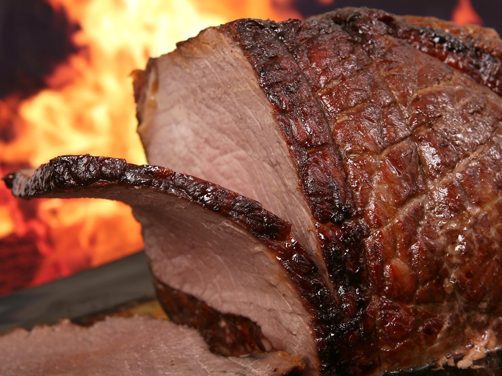 Bilder von Stück Schinken Lebensmittel Nahaufnahme 1600x1200 stücke das Essen hautnah Großansicht