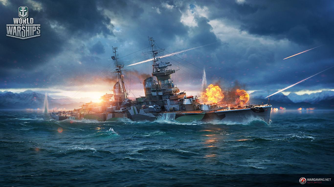 Wallpaper World Of Warship Firing Cruiser Mikhail Kutuzov 1366x768