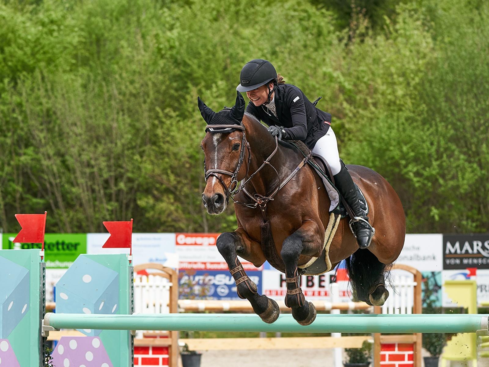 Photos horse Helmet Sport Equestrian sport  Jump Uniform 1600x1200 Horses sports athletic