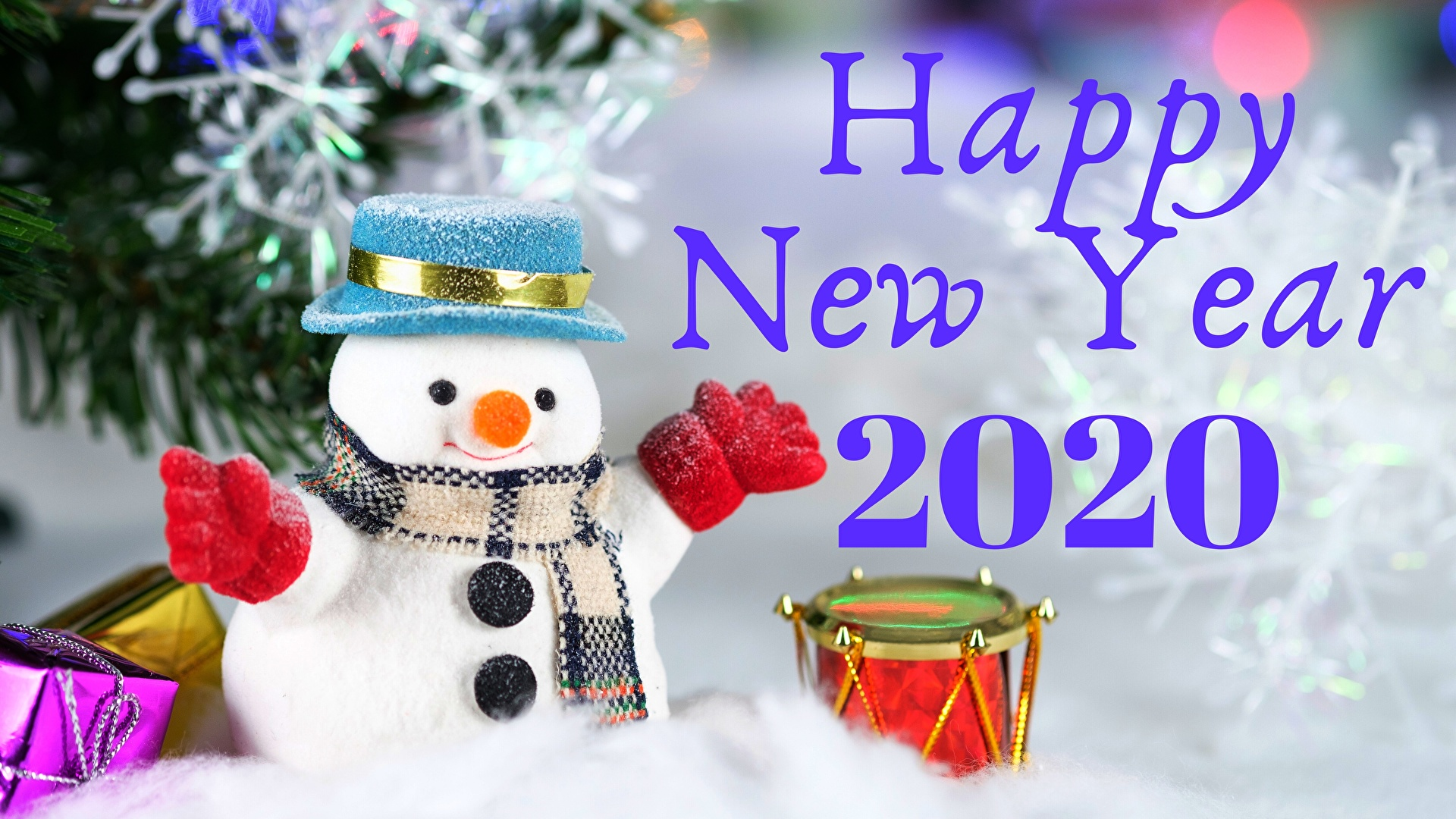 Desktop Wallpapers 2020 New year English text Snowmen 1920x1080