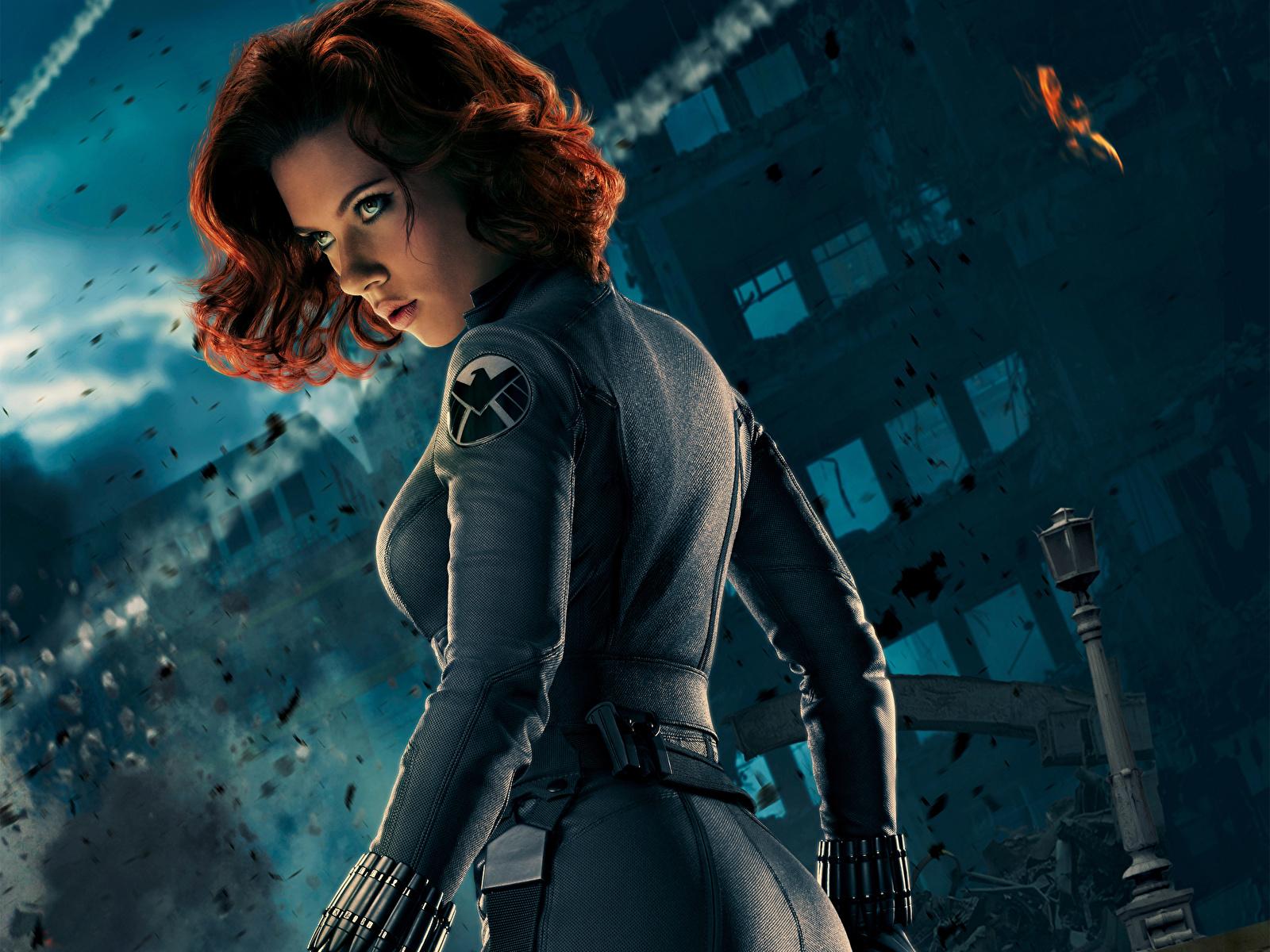 Images The Avengers (2012 film) Scarlett Johansson Redhead girl BLACK WIDOW Girls Movies Celebrities 1600x1200 female young woman film