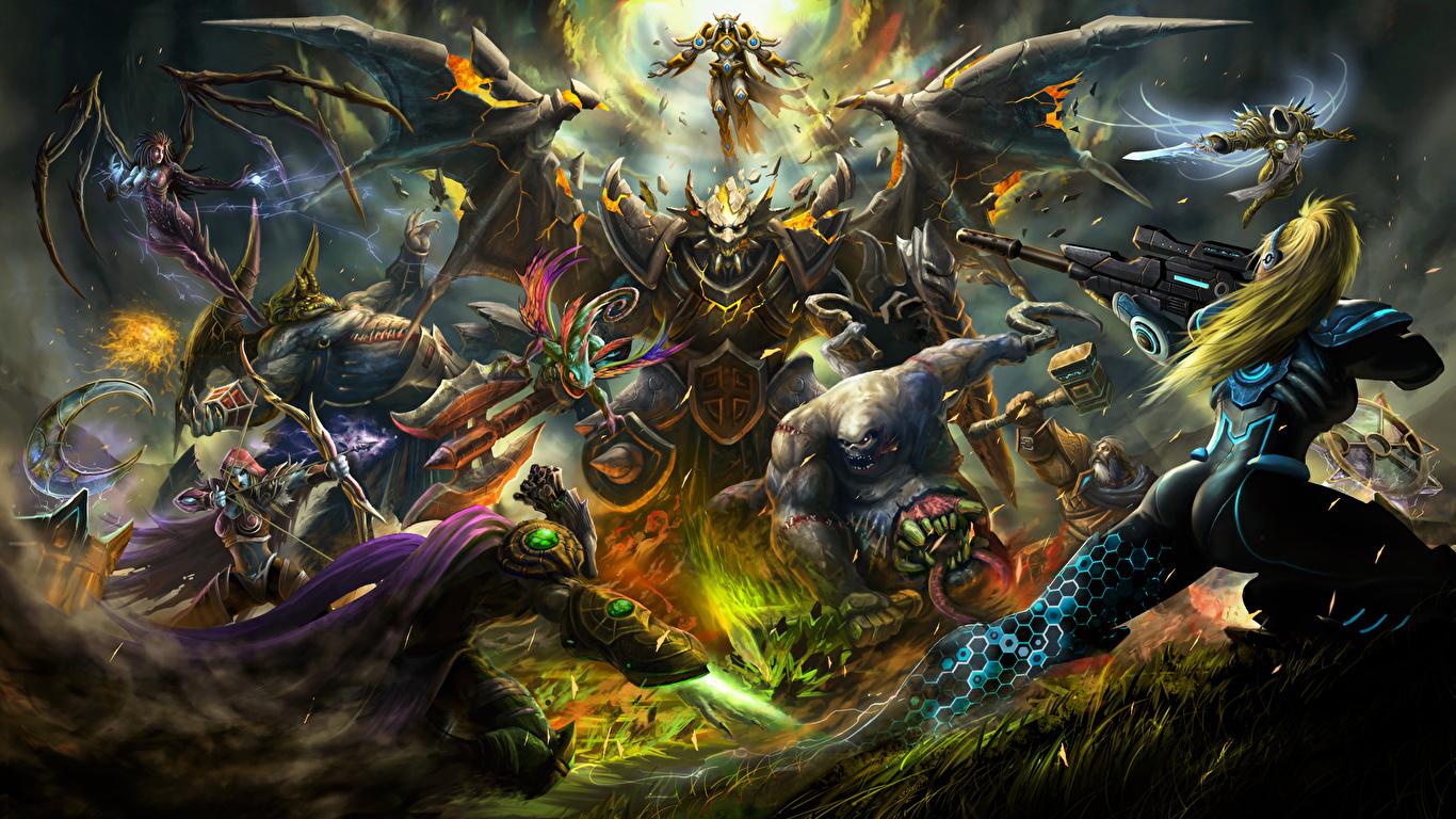 Wallpaper Wow Diablo Starcraft Sarah Kerrigan Heroes Of The 1366x768