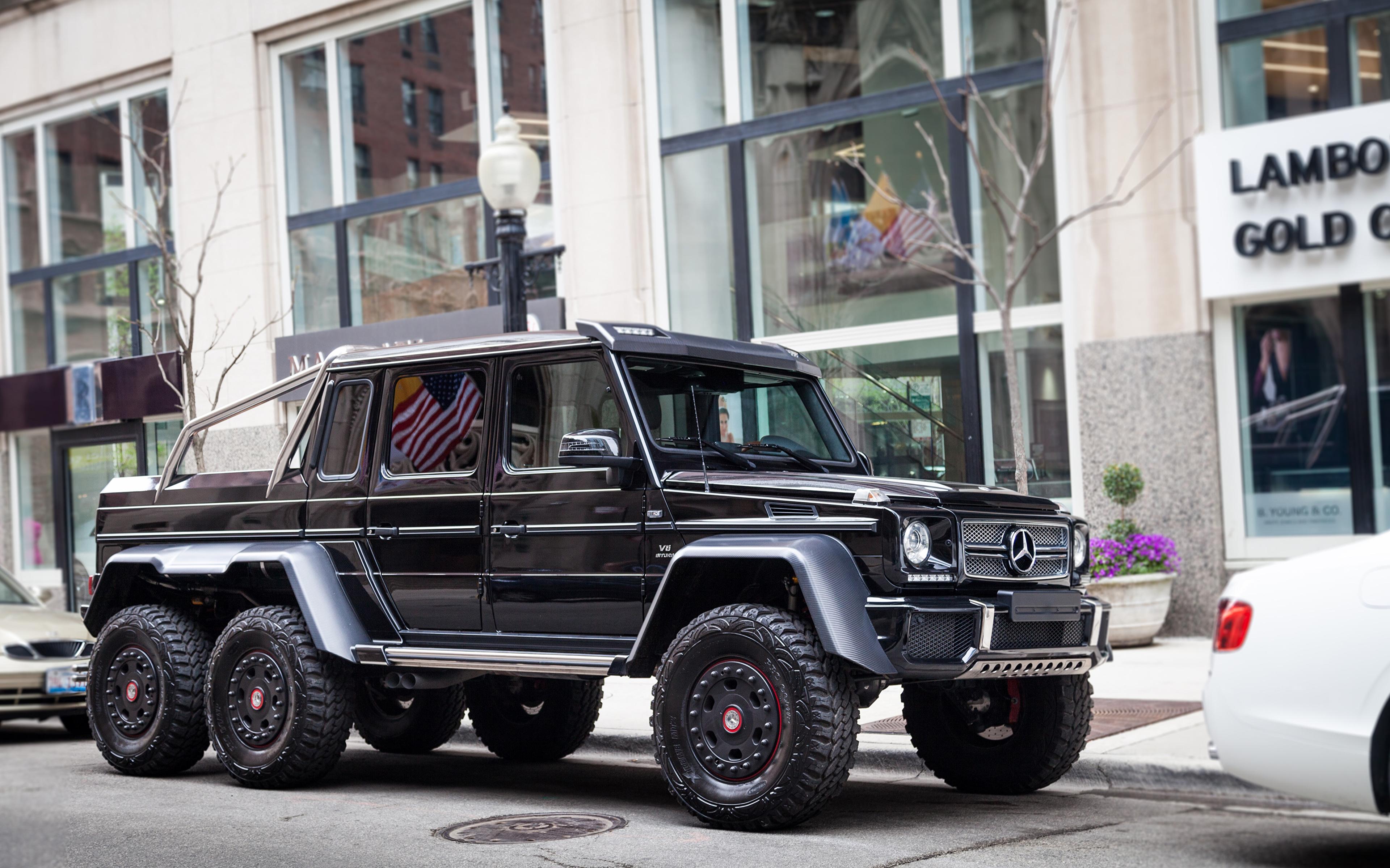 Pictures Mercedes Benz G63 Amg 6x6 Black Automobile 3840x2400