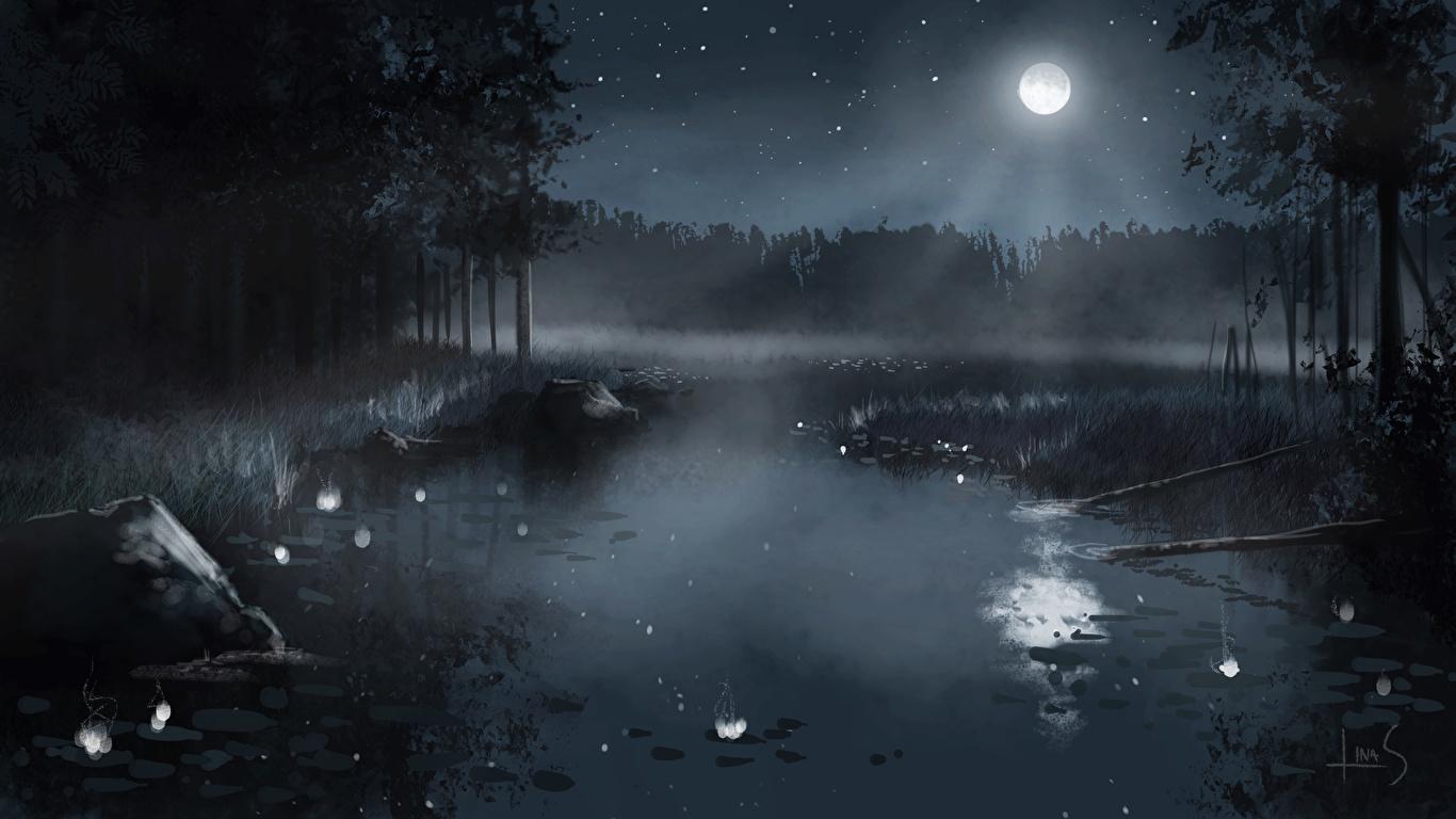 壁紙 1366x768 池 描かれた壁紙 夜 月 自然 ダウンロード 写真