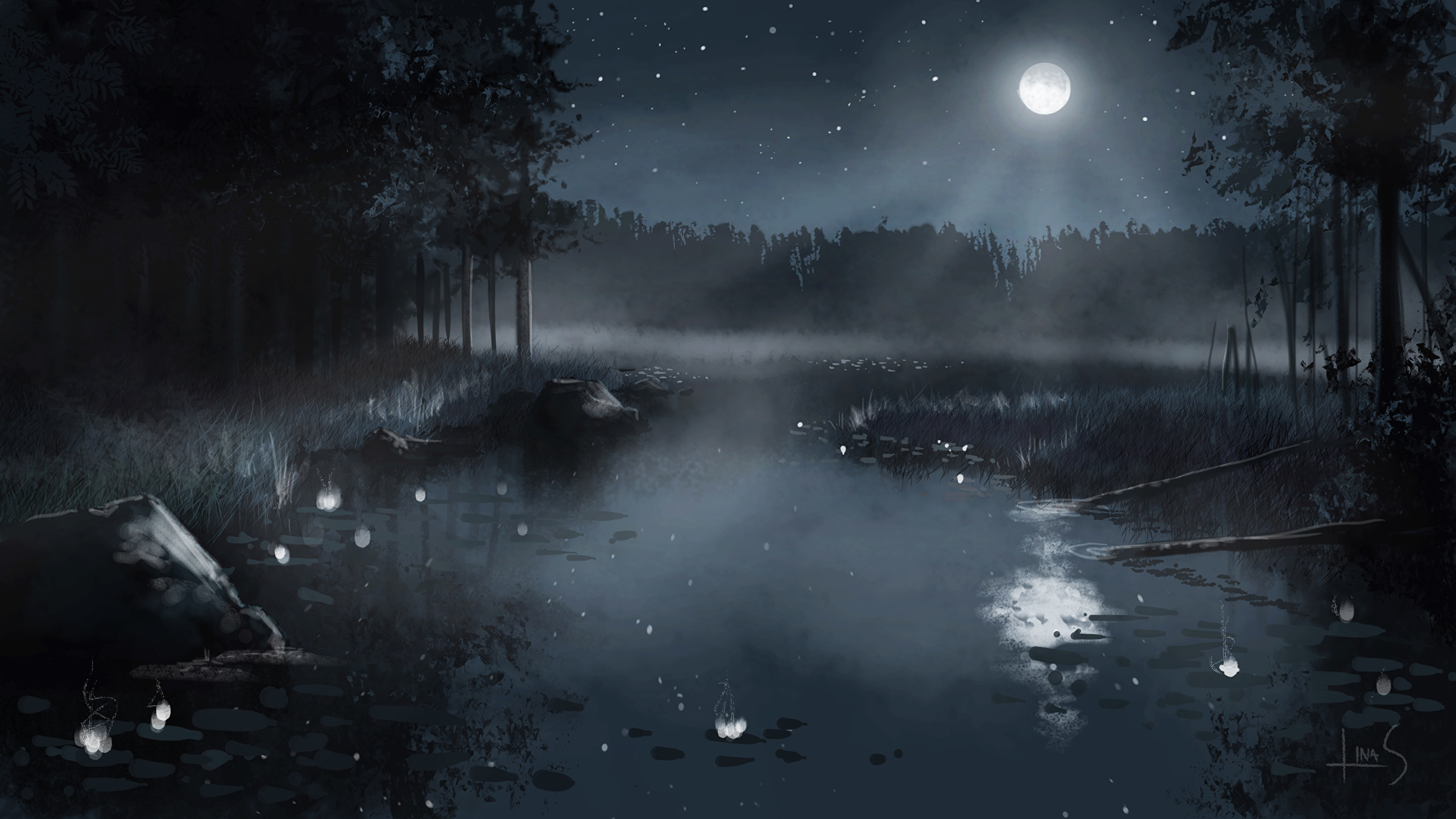 壁紙 2560x1440 池 描かれた壁紙 夜 月 自然 ダウンロード 写真
