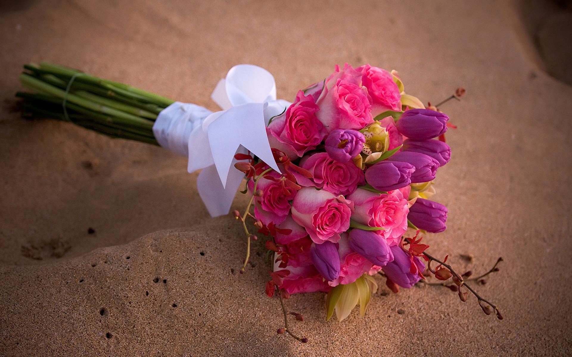 Photo Bouquet Rose Tulip Orchid Flowers 1920x1200