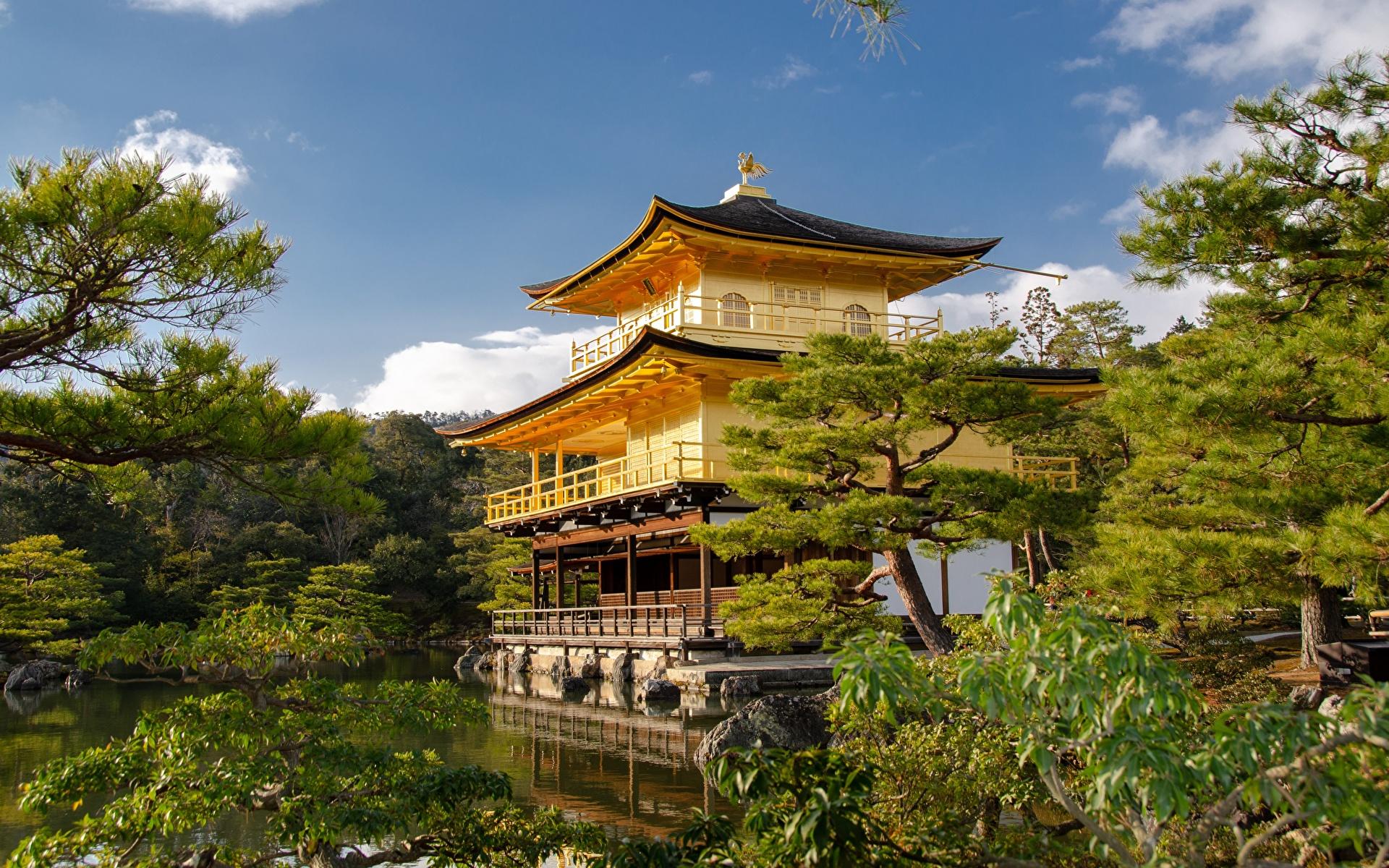 Wallpaper Kyoto Japan Kinkaku-JI Gardens temple Cities 1920x1200 Temples