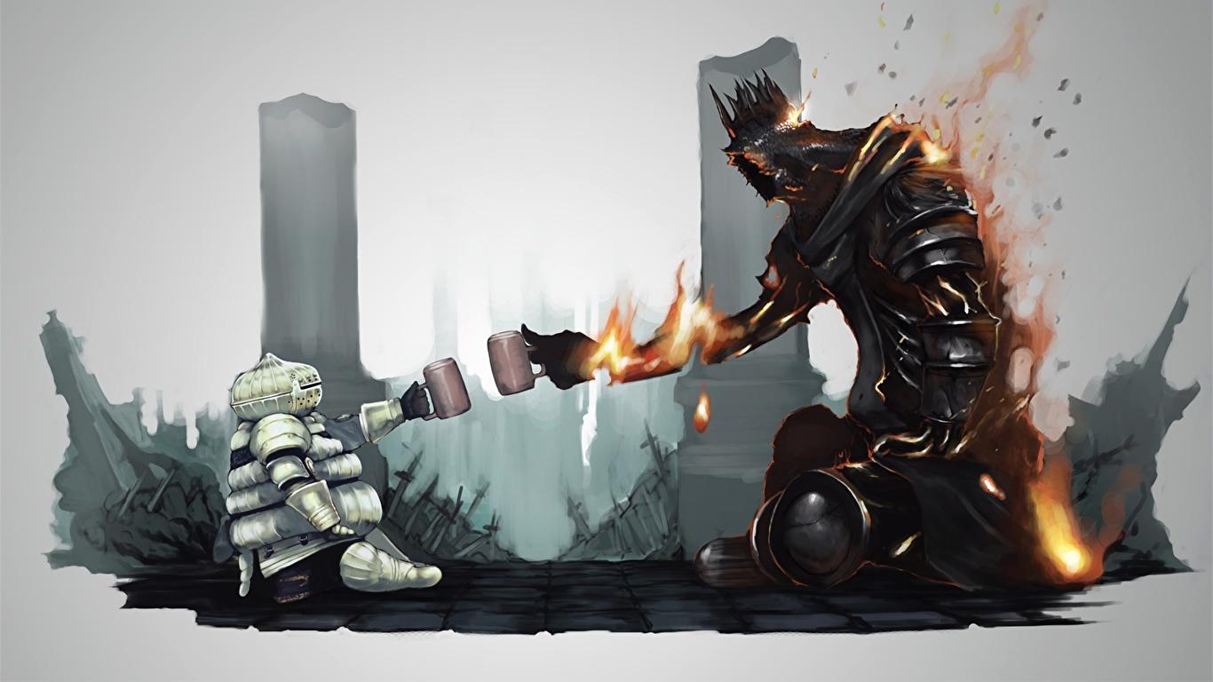 Photos Dark Souls Armor Giant Mythology Fan Art Siegmeyer 1366x768