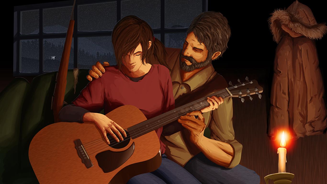Picture The Last Of Us Men Guitar Fanart Ellie Joel 2 1366x768