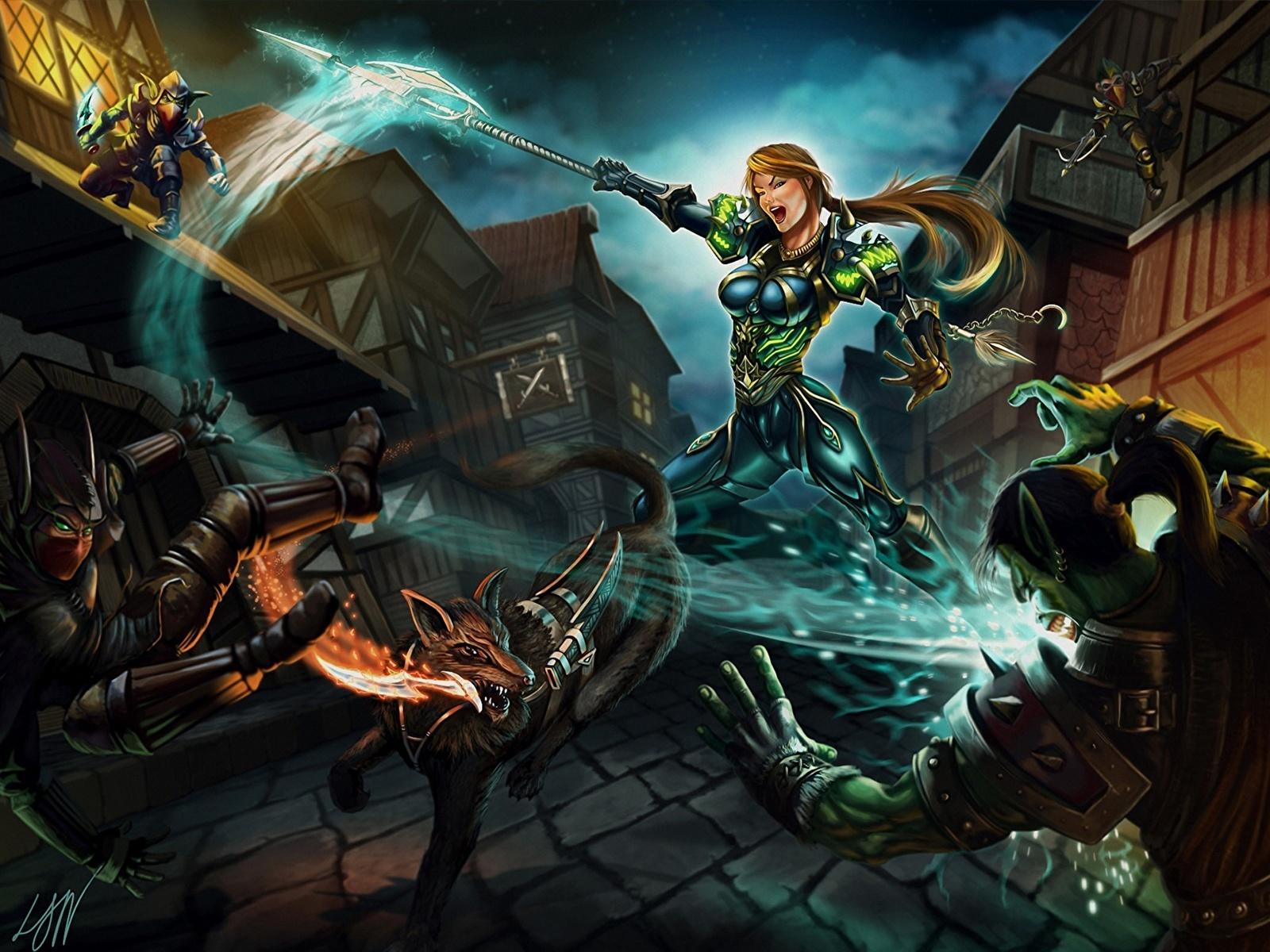 Wallpaper WoW Orc Battle axes hunter, night elves Girls