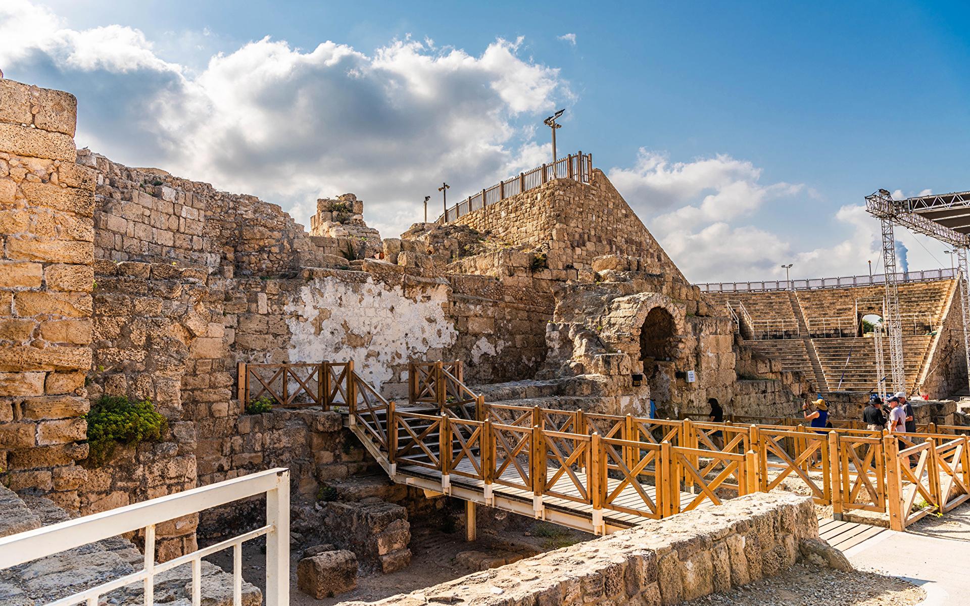 Bilder von Israel Coliseum at Caesarea National Park Ruinen Städte 1920x1200 Parks
