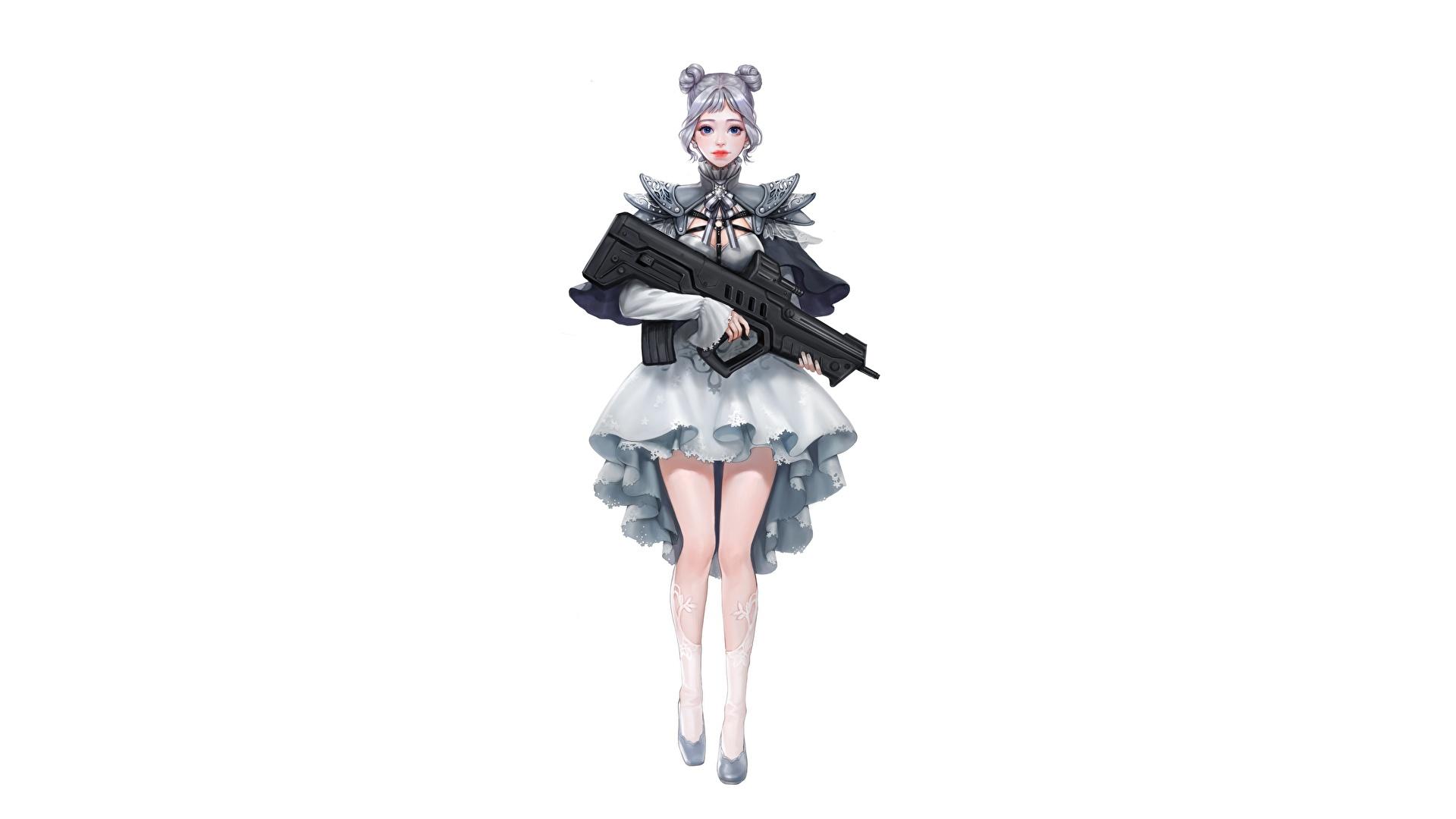 壁紙 19x1080 アサルトライフル Da Hye Lee Lolita Gunslinger 白背景 スカート 脚 ファンタジー 少女 ダウンロード 写真
