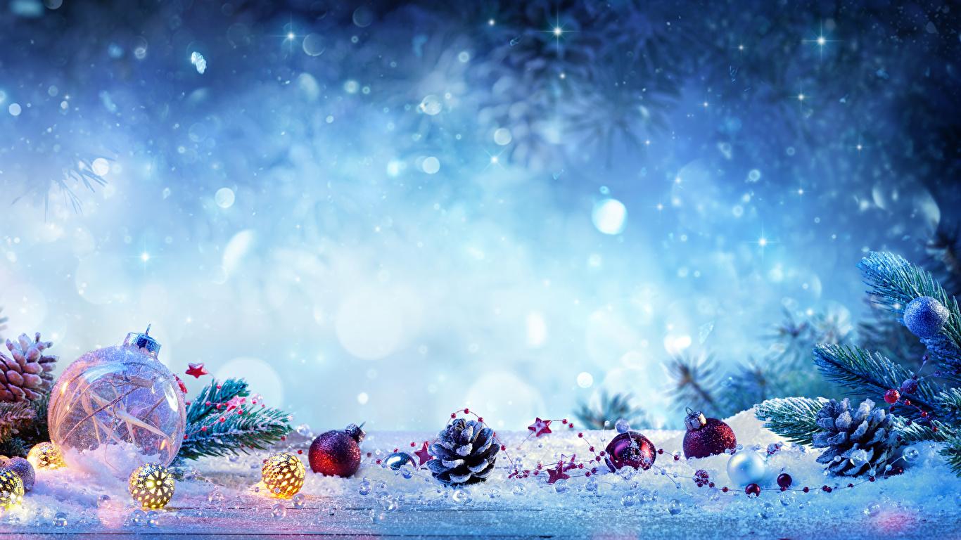 Sfondi Natalizi 1366x768.Sfondi Natale Neve Palla Strobilo 1366x768