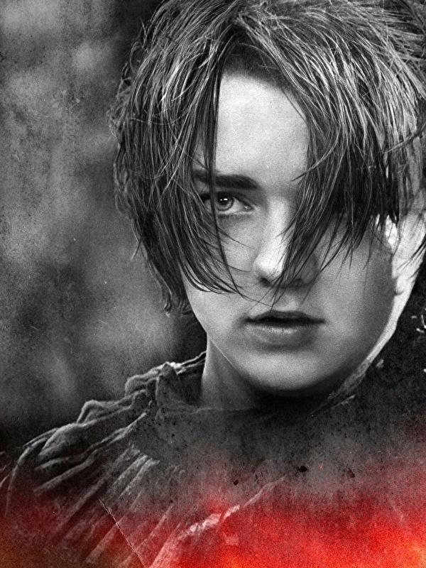 Bilder Game of Thrones Maisie Williams Arya Stark Gesicht junge frau Film Prominente Nahaufnahme 600x800 für Handy Mädchens junge Frauen hautnah Großansicht