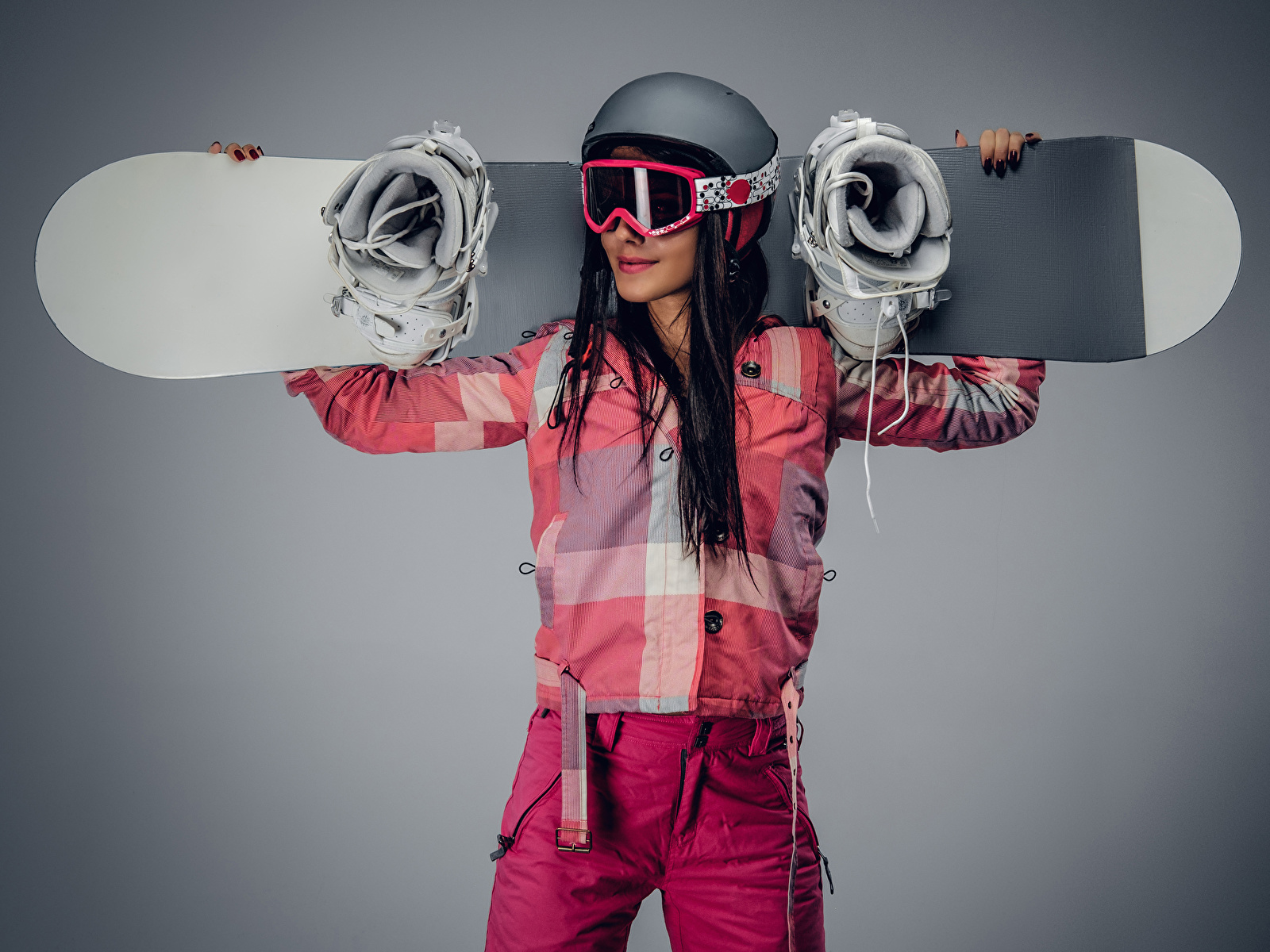 Wallpaper Brown haired Helmet Sport female Snowboarding Glasses Gray background 1600x1200 Girls sports athletic young woman eyeglasses
