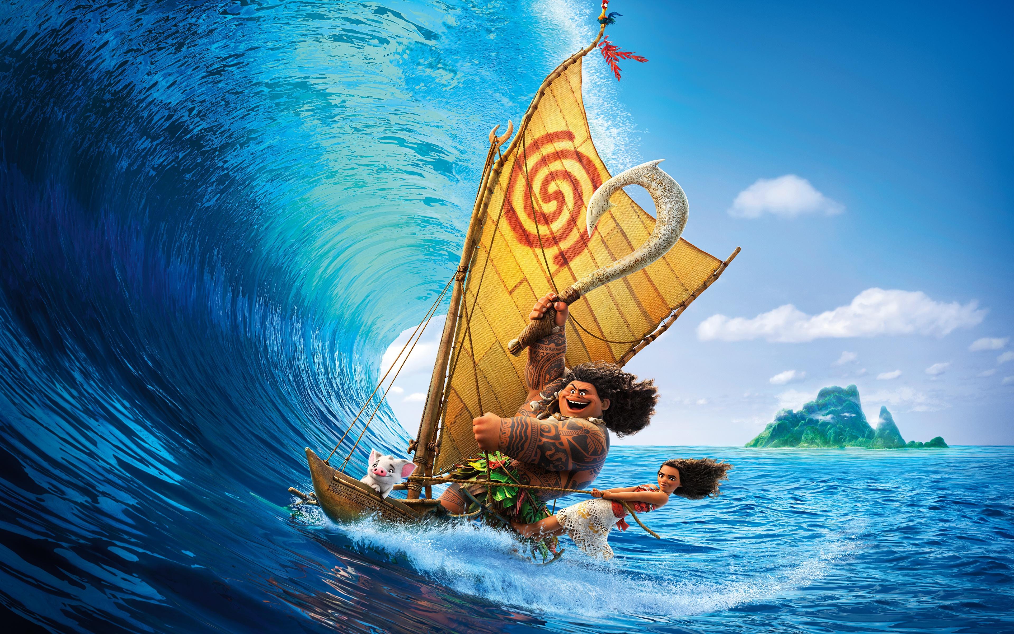 壁紙 3840x2400 サーフィン 波 海 モアナと伝説の海 Maui 漫画