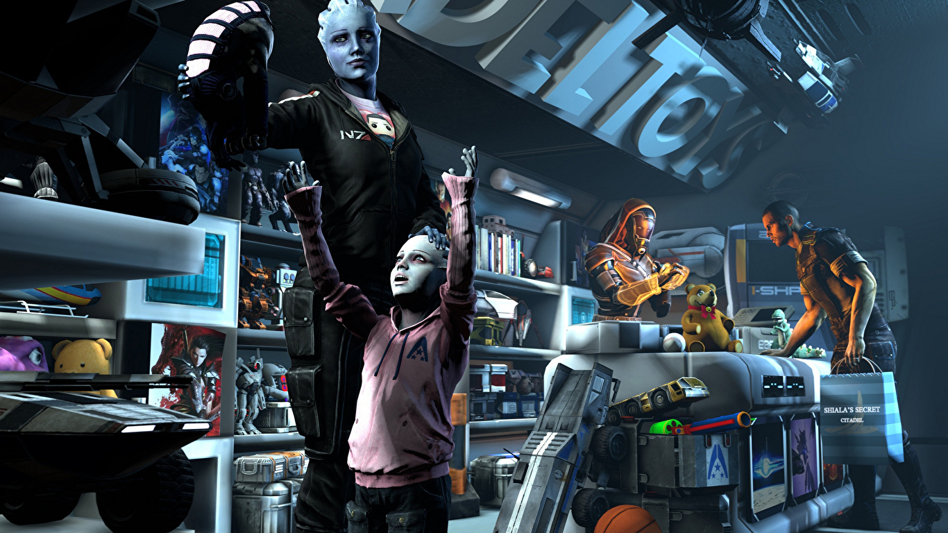Wallpaper Liara Mass Effect Shepard T Soni 3d Graphics 1366x768