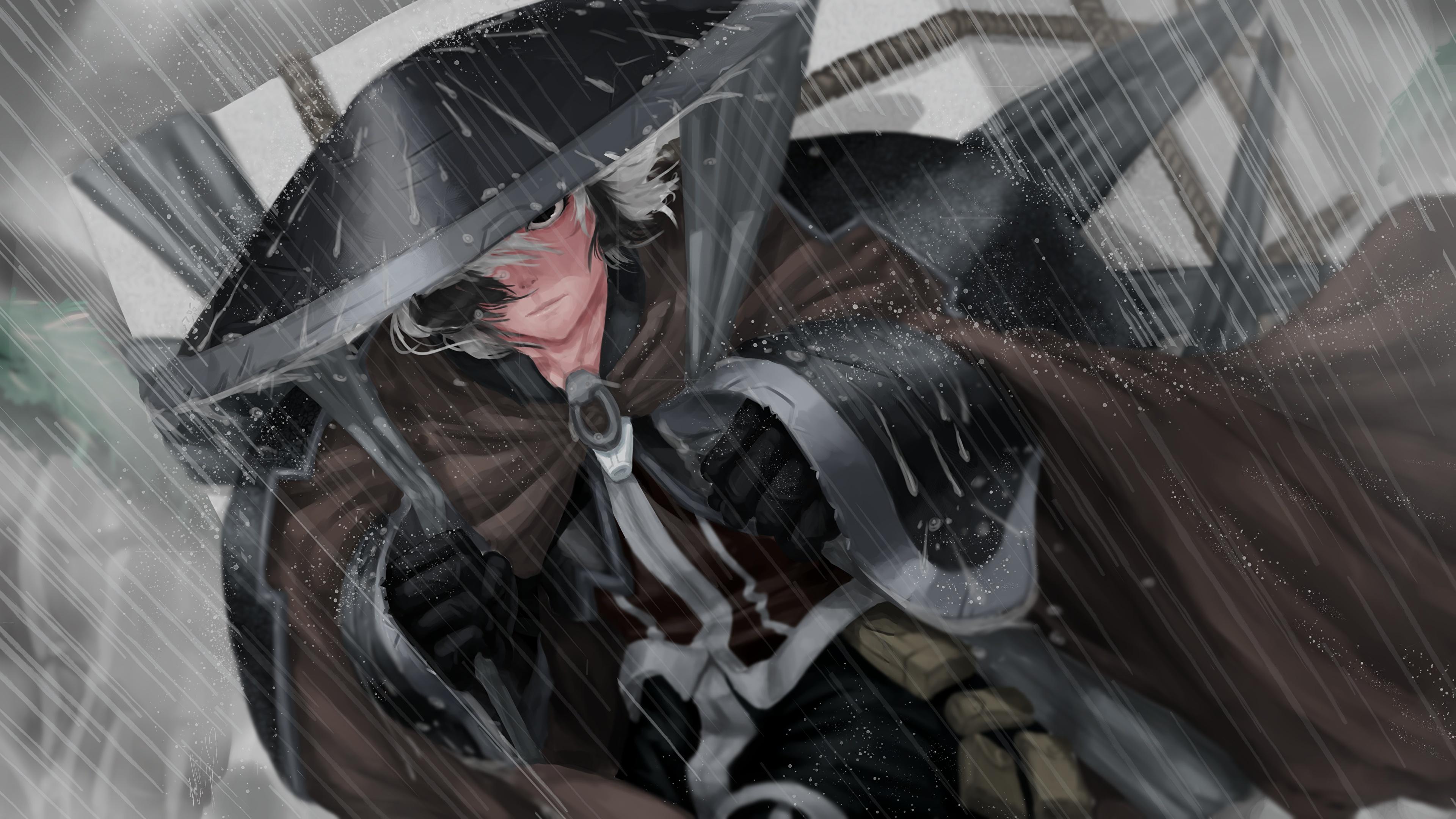 Papeis De Parede 3840x2160 Chuva Chapeu Samurai Gota Anime Baixar Imagens