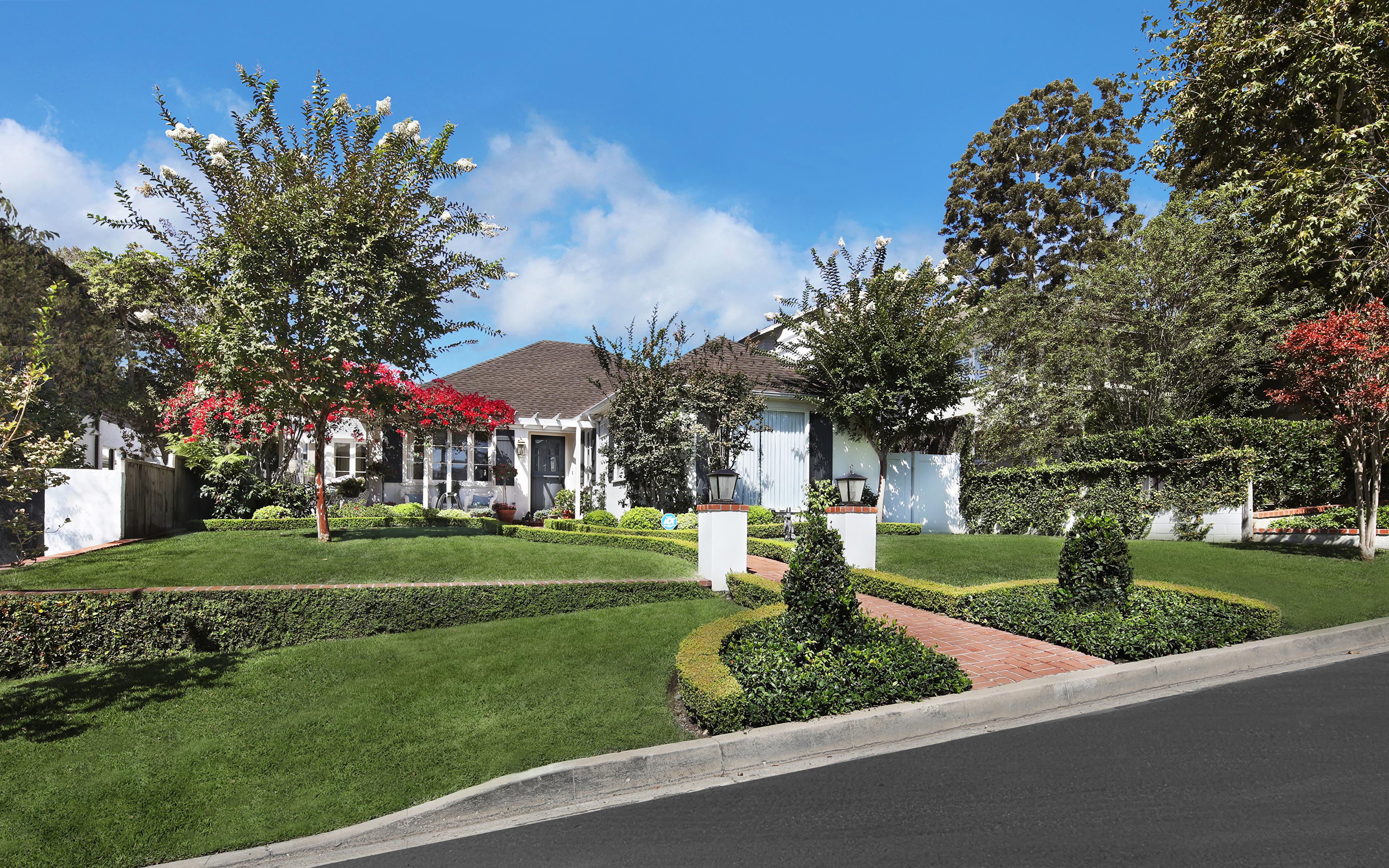 Image Usa Laguna Beach Lawn Trees Houses Cities Landscape 3840x2400