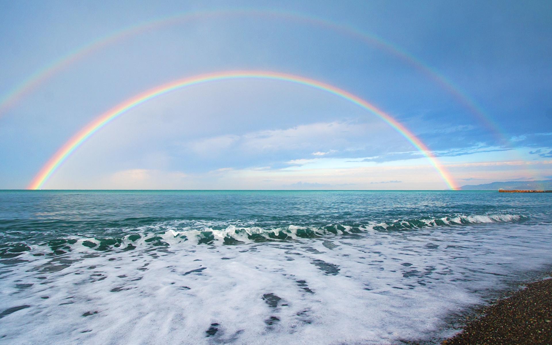 1920x1200、海岸、海、空、虹、地平線、自然、