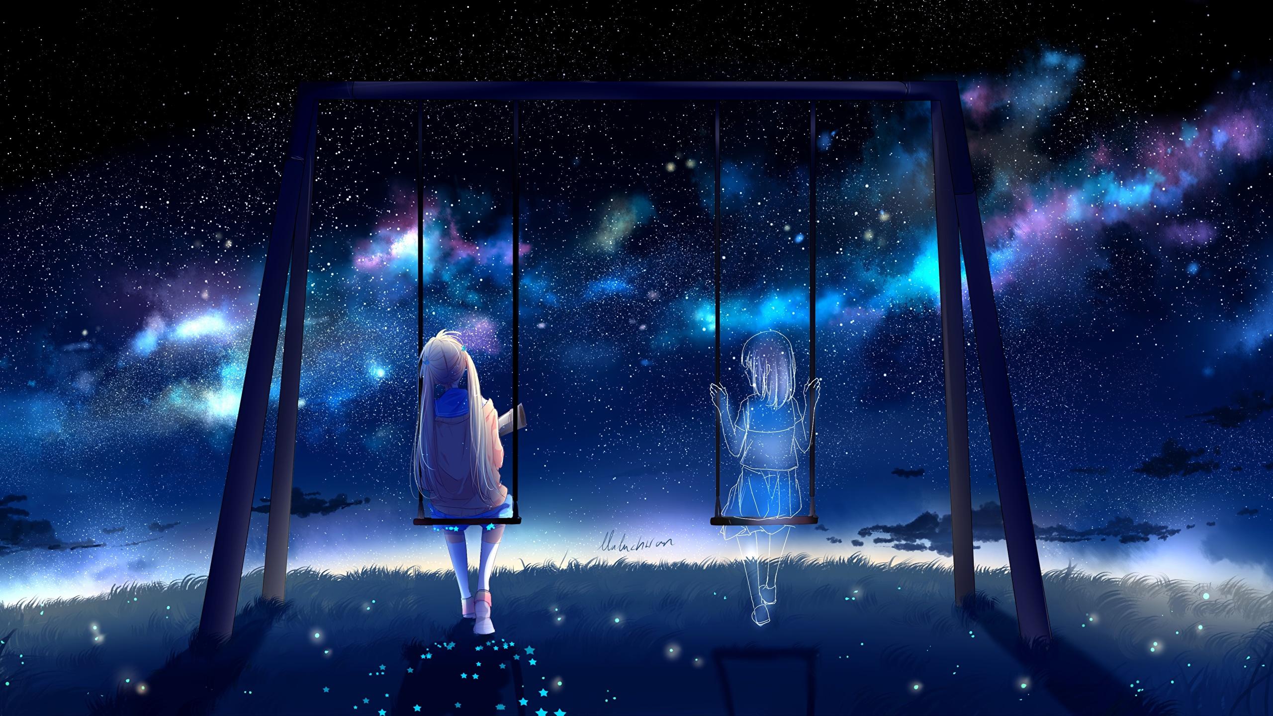 壁紙 2560x1440 ゴースト By Lluluchwan ブランコ 夜 座っ アニメ 少女 ダウンロード 写真