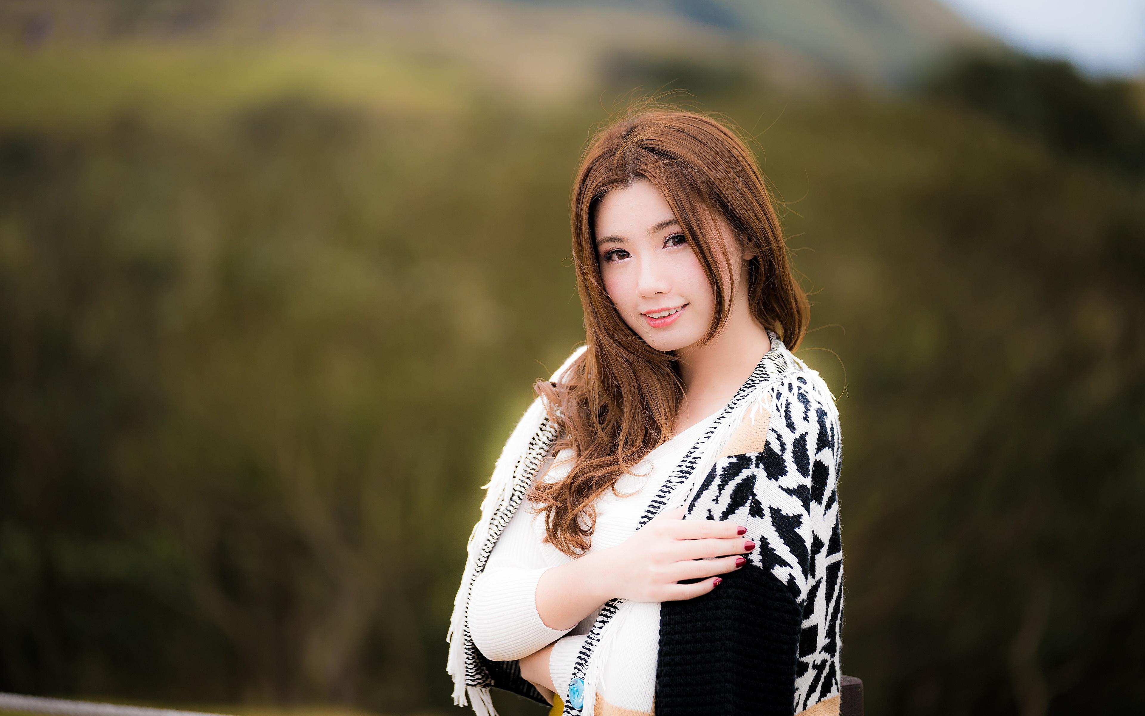3840x2400,亚洲人,散景,棕色的女人,凝视,手,年輕女性,女孩,