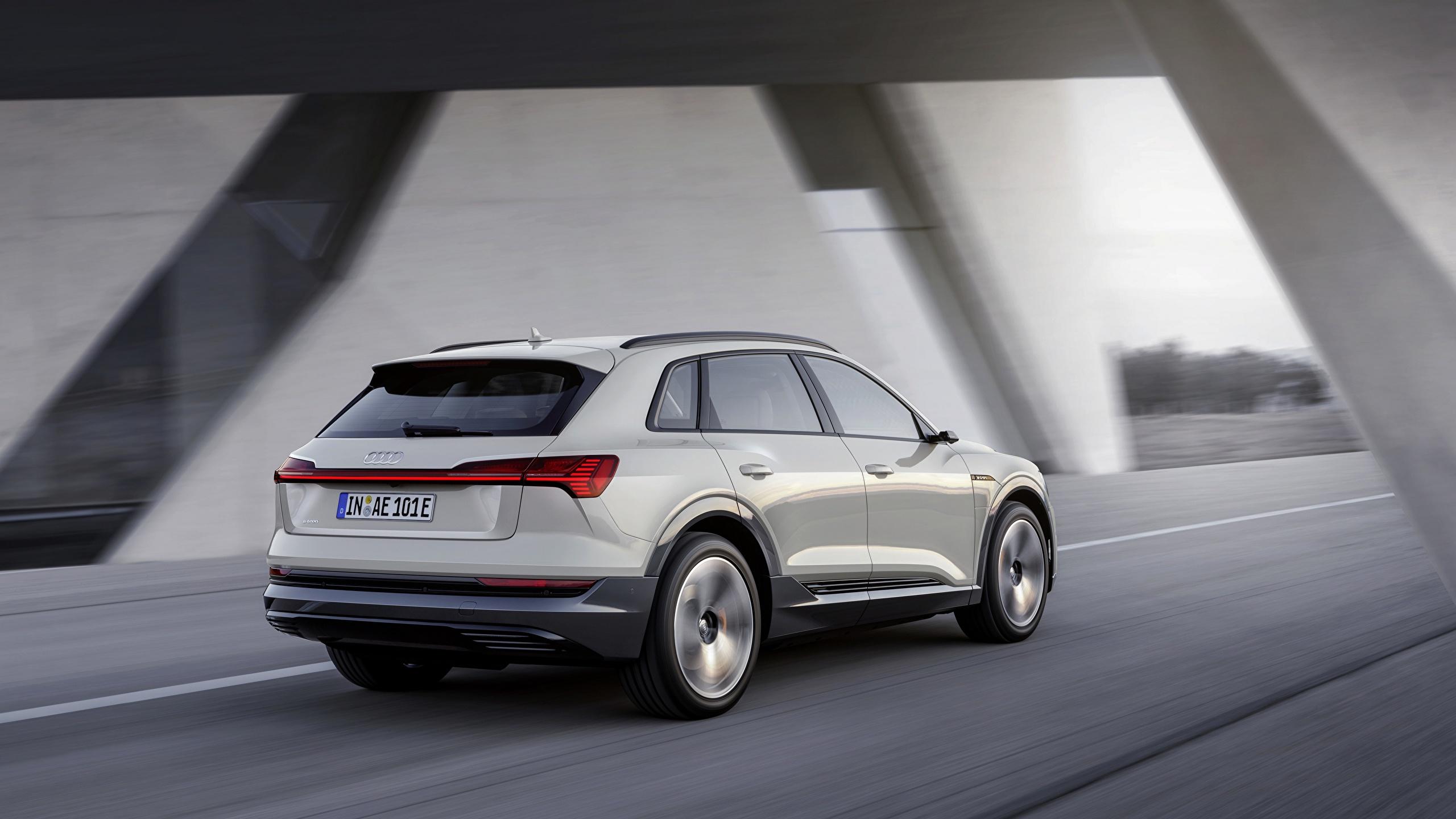 Wallpaper Audi E Tron 2019 White Driving Auto 2560x1440