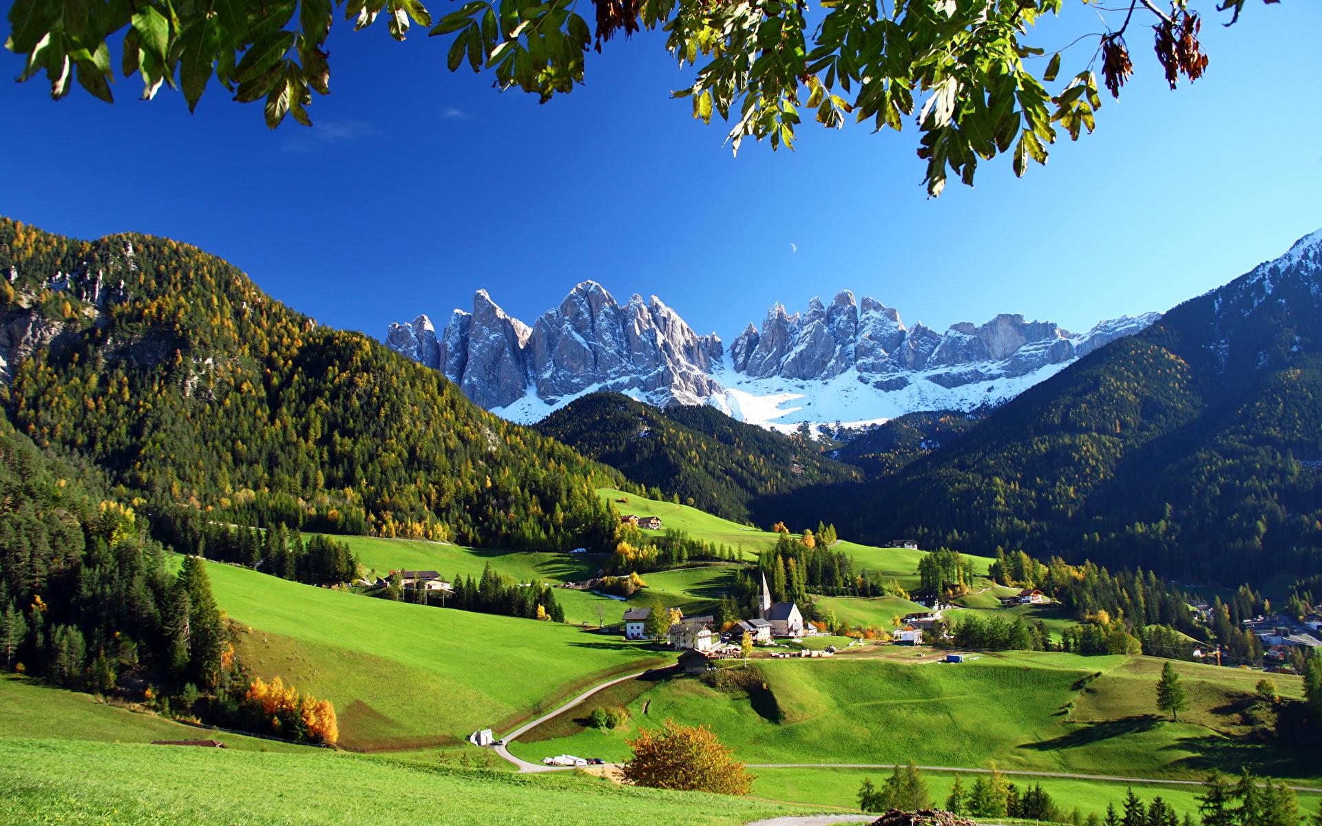 壁紙 19x10 風景写真 イタリア 山 草原 Funes 自然 ダウンロード 写真