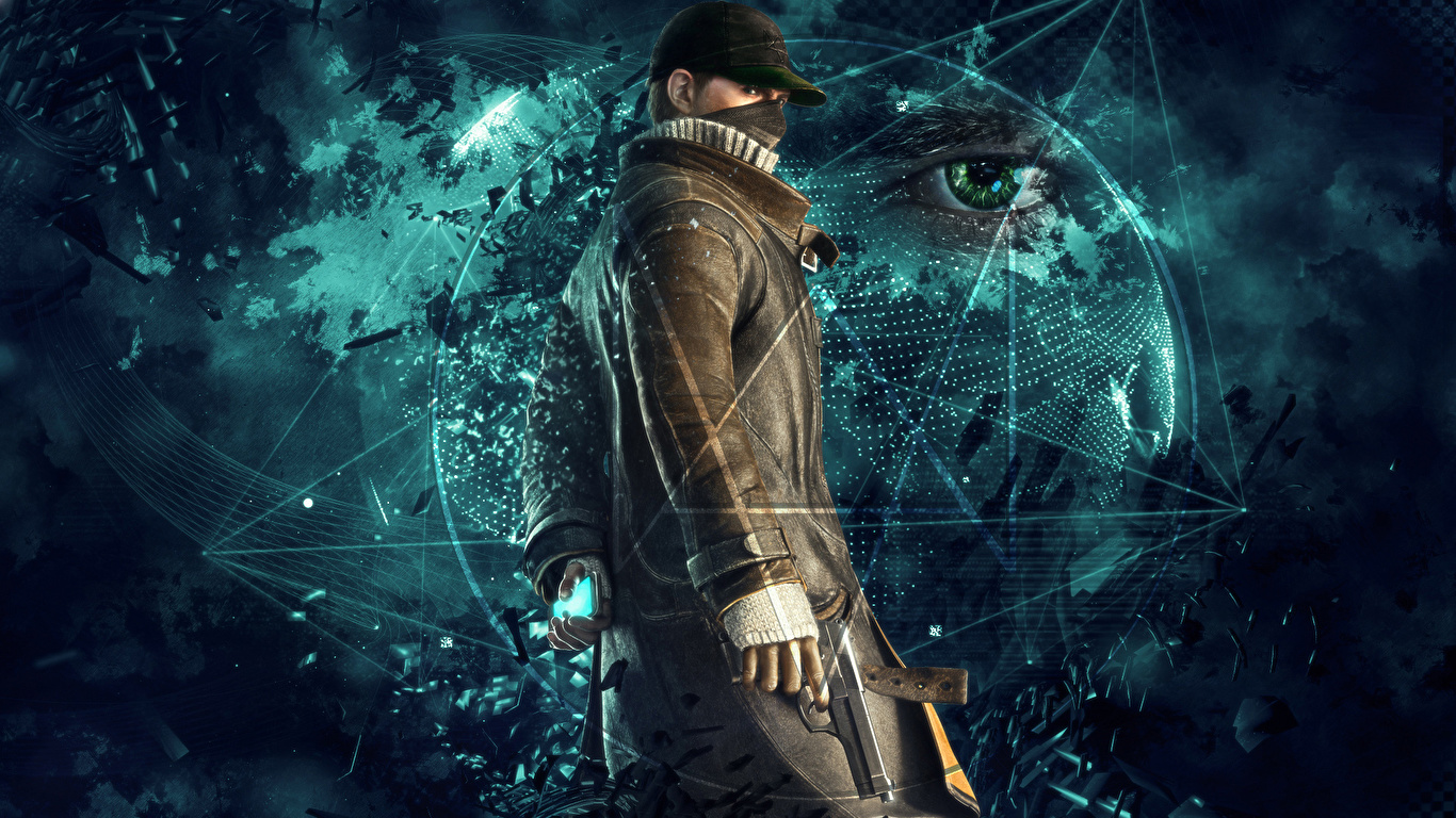 Photos Watch Dogs Eyes Pistol Men Vdeo Game 1366x768