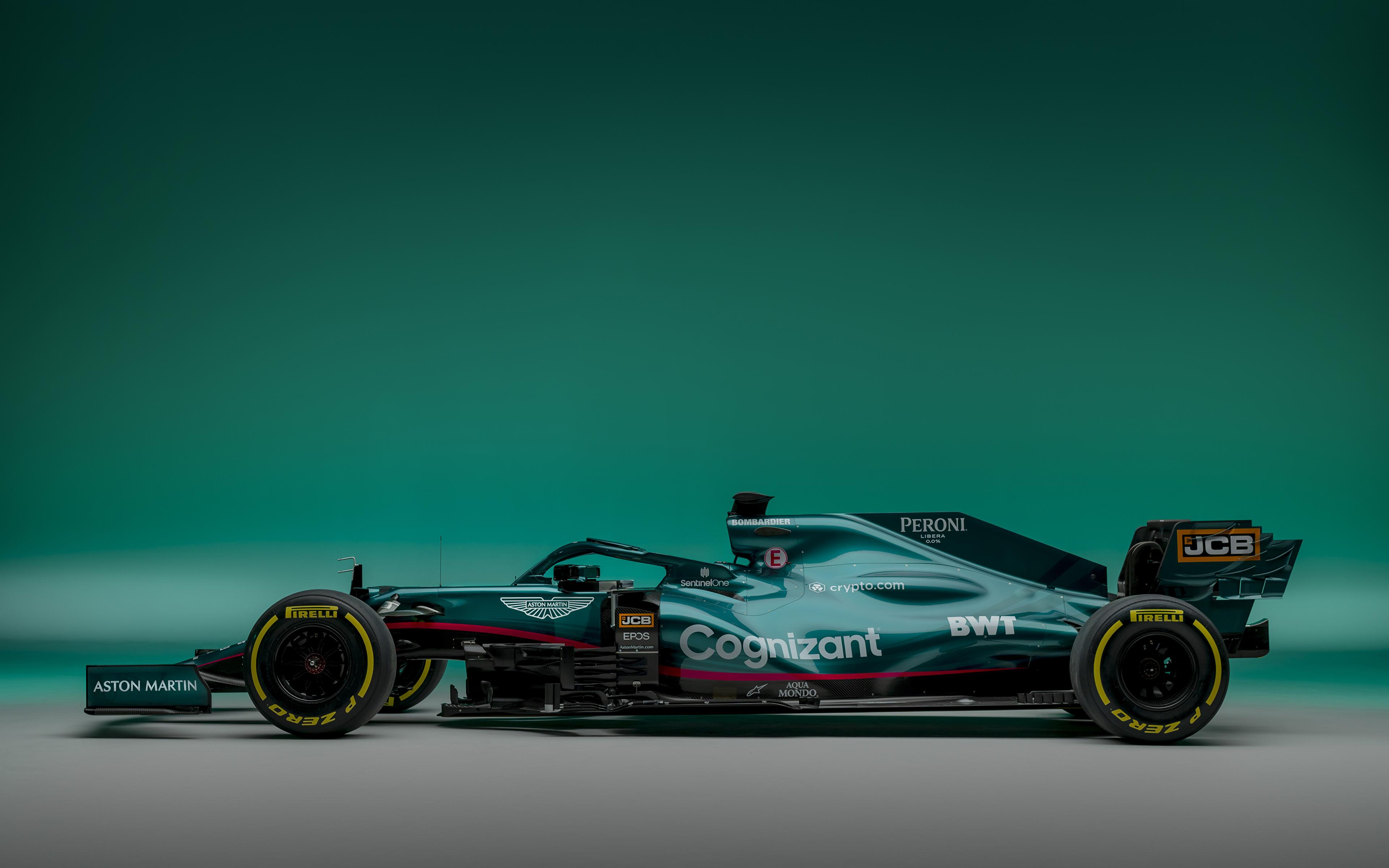 zdjęcie Aston Martin AMR21, 2021 Zielony sportowe Formula 1 samochód Widok z boku 3840x2400 Sport sportowy Samochody