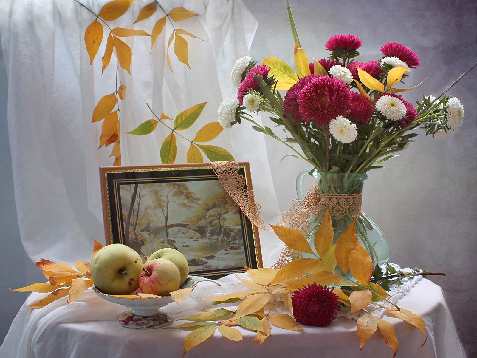 Fonds D Ecran 1600x1200 Bouquets Asters Nature Morte Automne