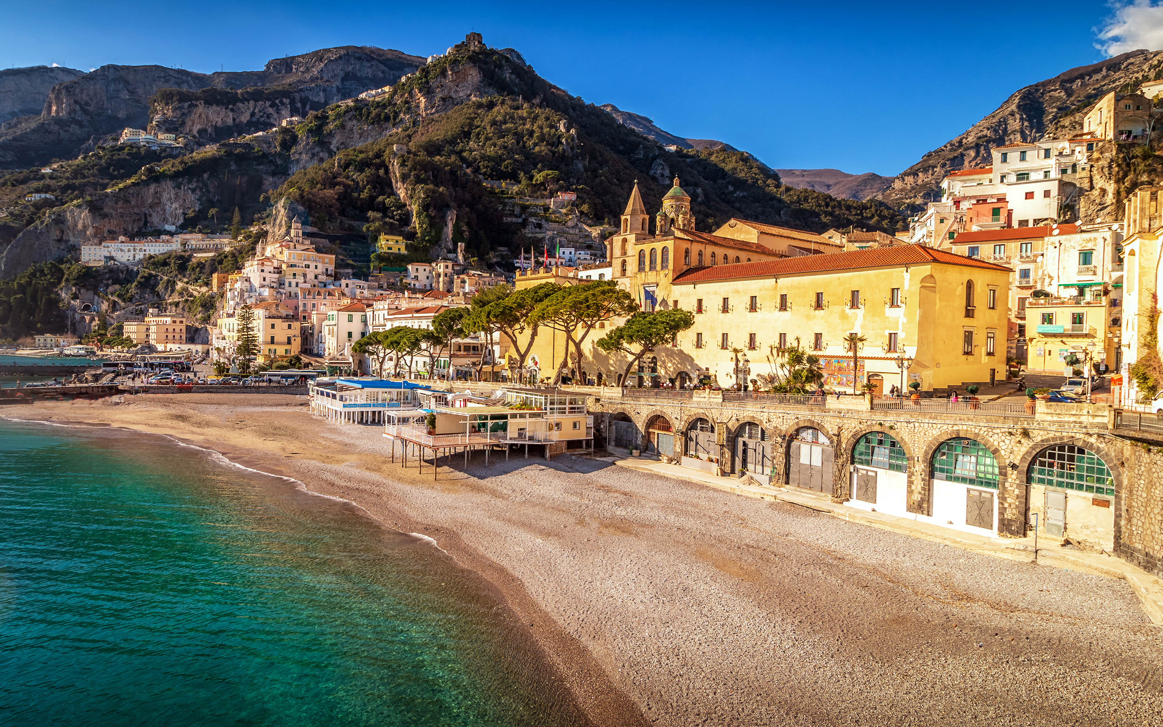 Picture Amalfi Italy Beach Mountains Coast Cities Houses