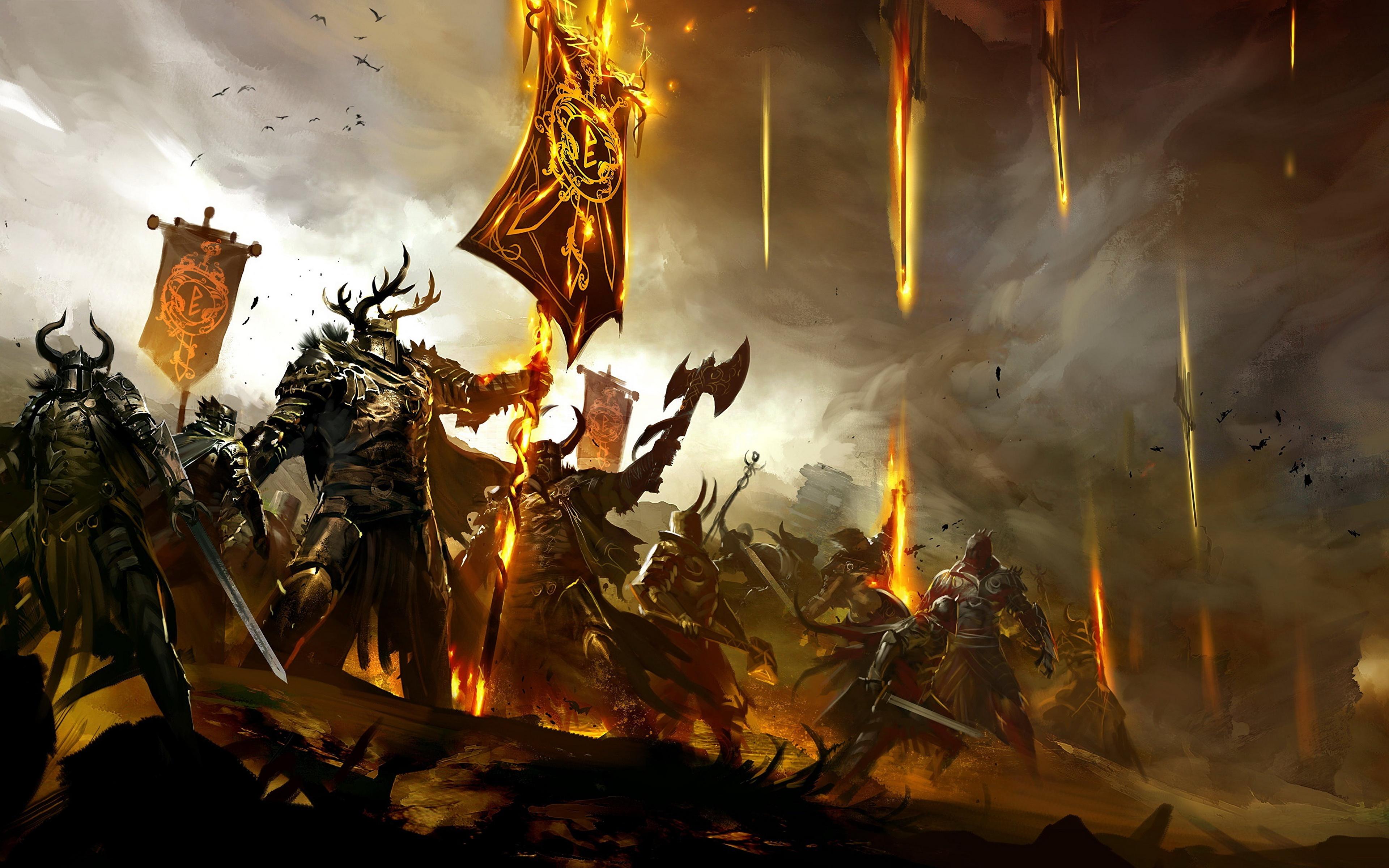 Desktop Wallpapers Guild Wars Guild Wars 2 Swords armour 3840x2400